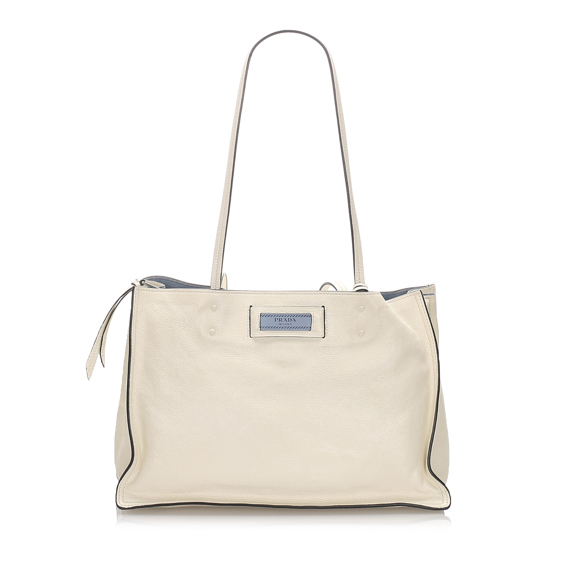 Leather Shoulder Bag PRADA White