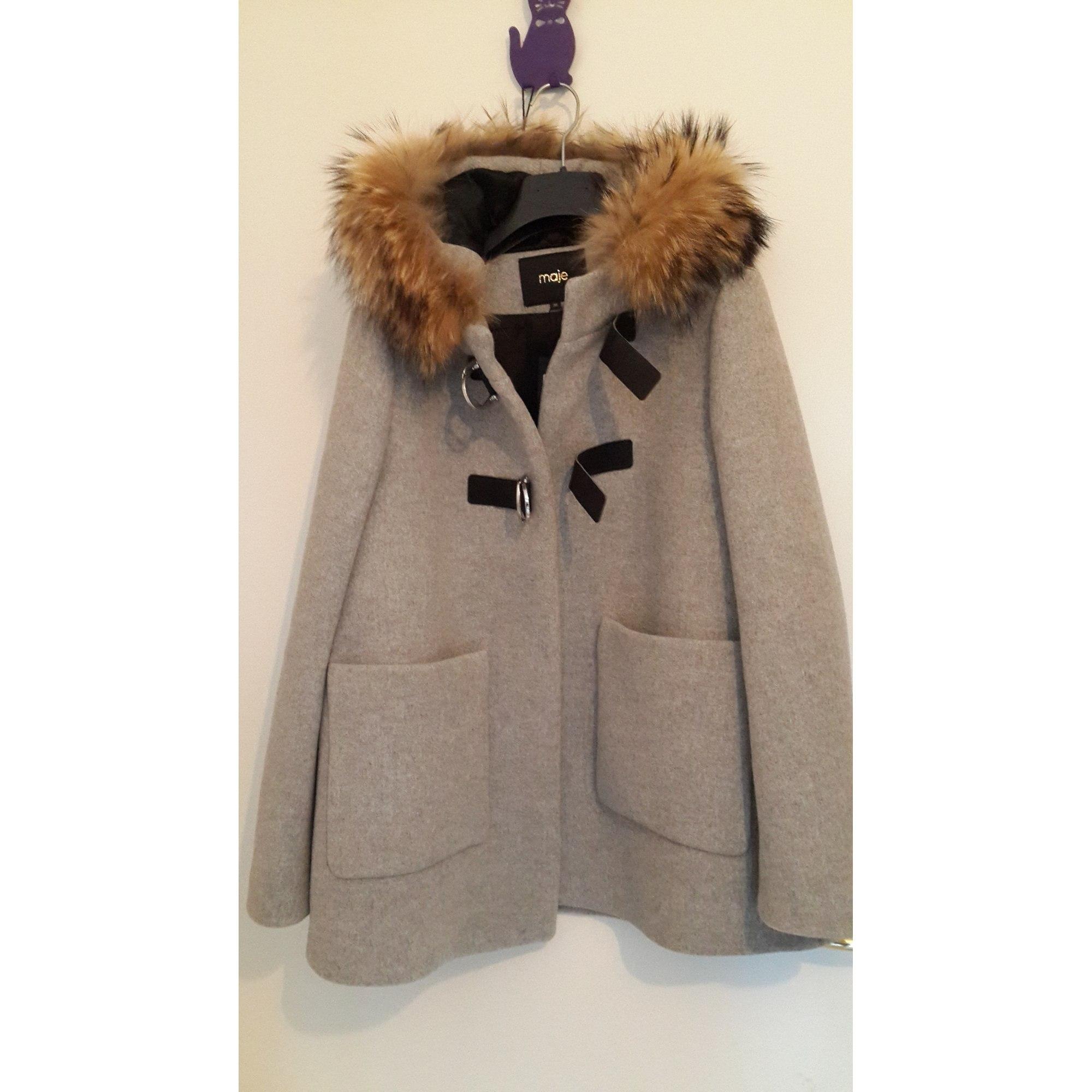 manteau maje laine et fourrure
