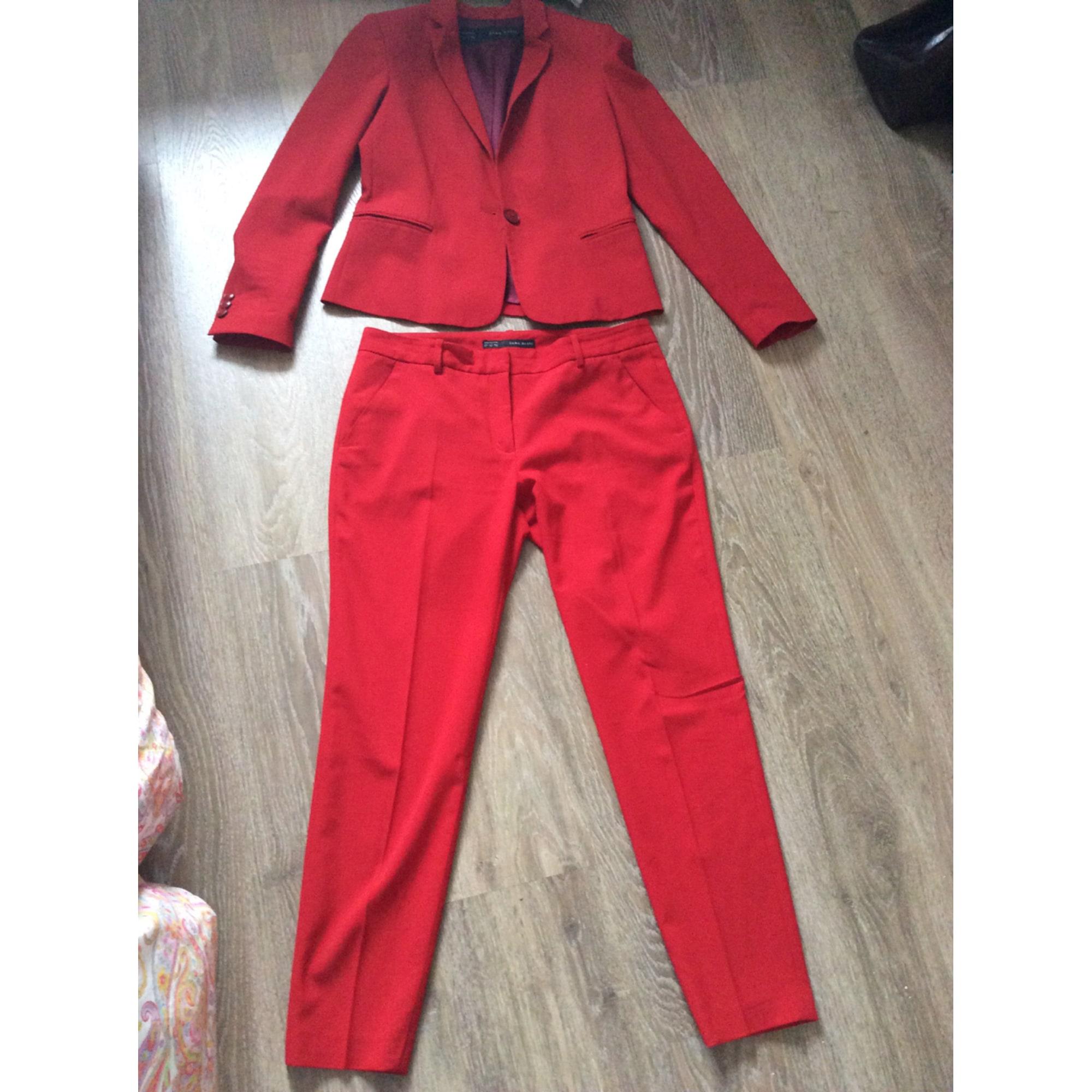 tailleur pantalon femme rouge zara