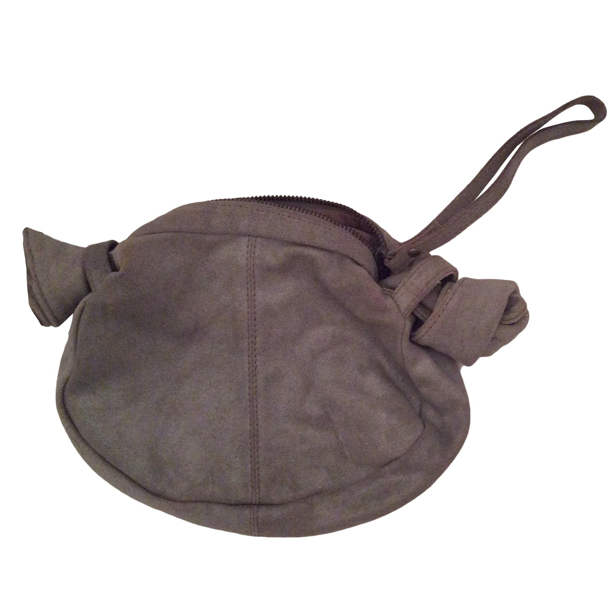 Leather Clutch COMPTOIR DES COTONNIERS Gray, charcoal