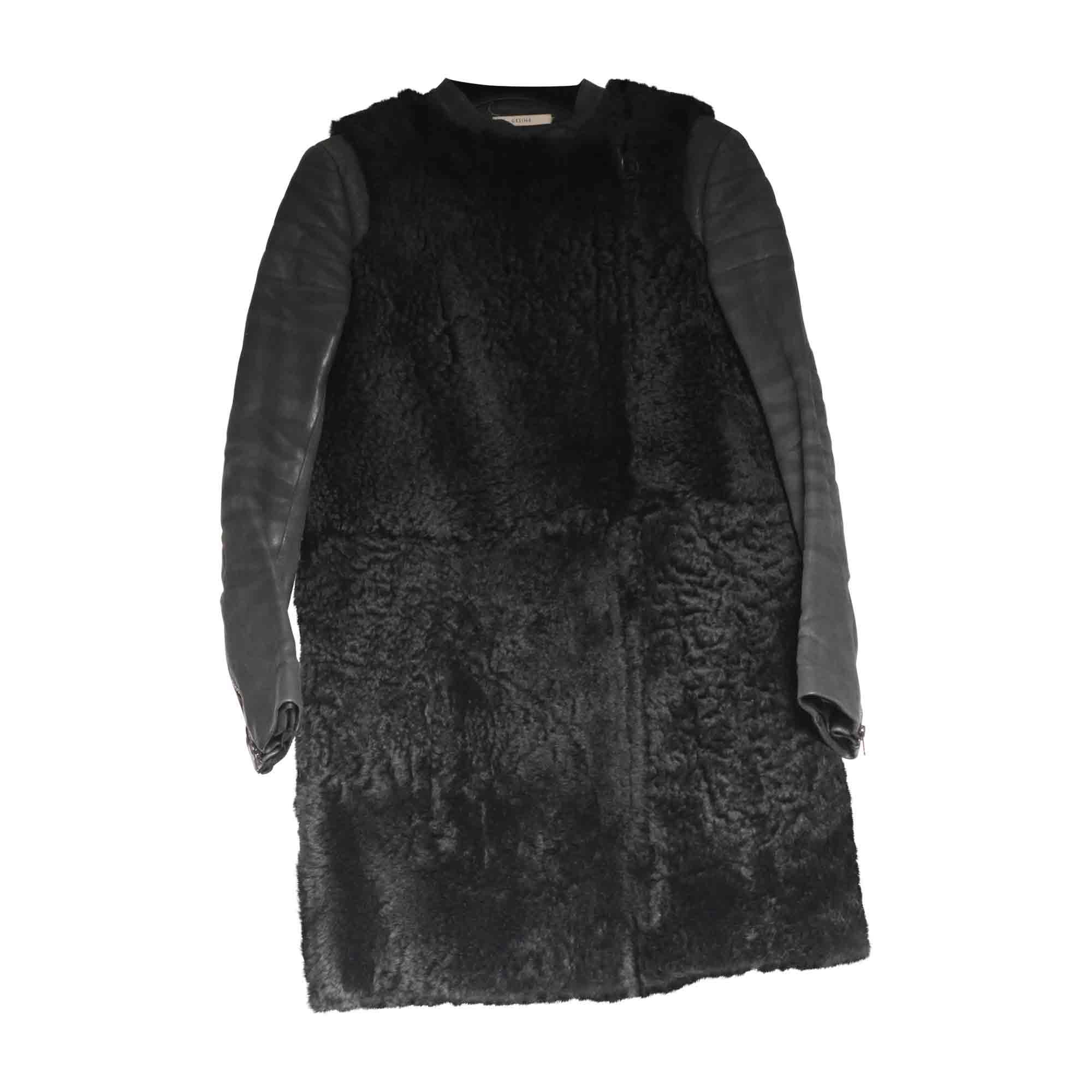 Manteau en fourrure CÉLINE Noir