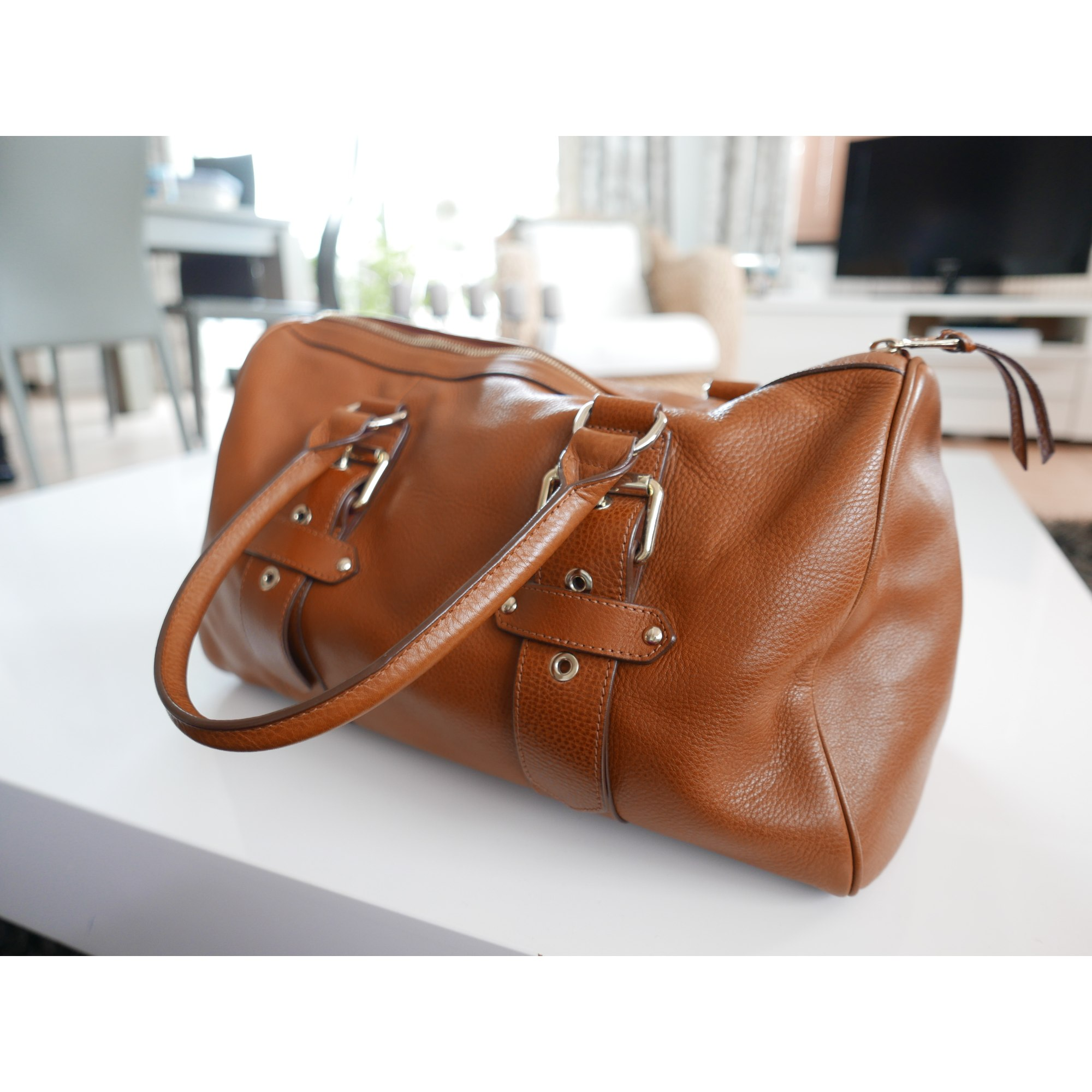 Kate moss leather bowling bag Longchamp Brown in Leather woFLANvq