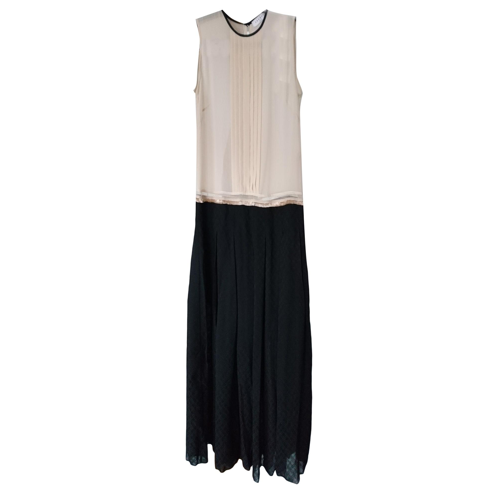 robe noire et blanche longue sandro