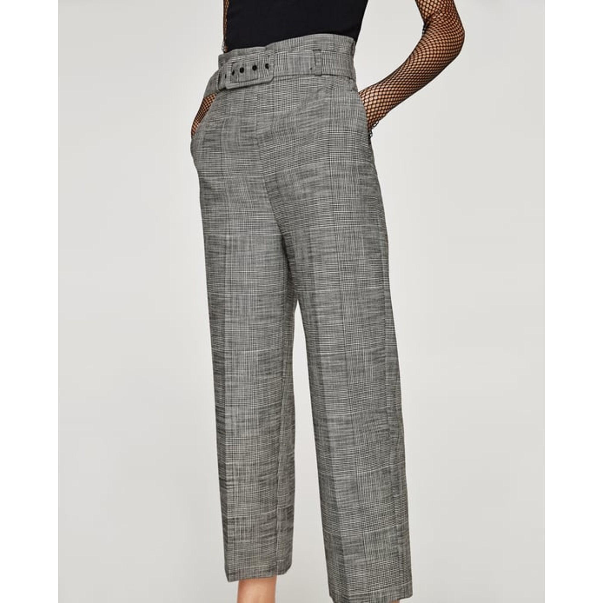 pantalon large gris femme zara