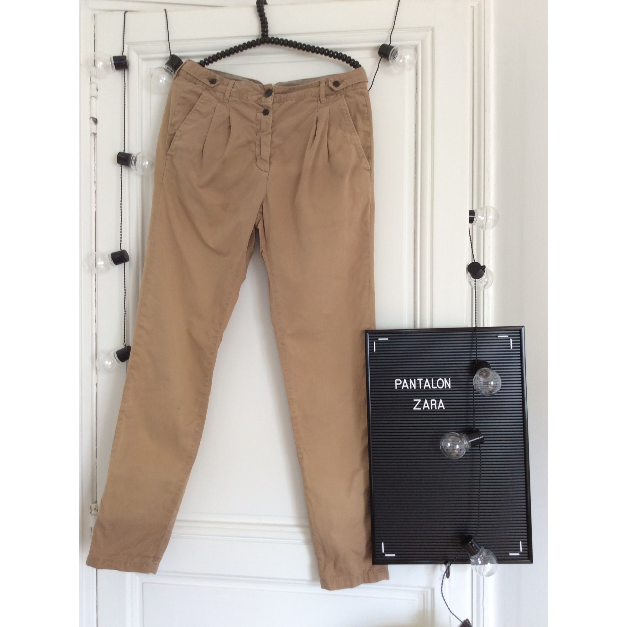 pantalon femme zara camel