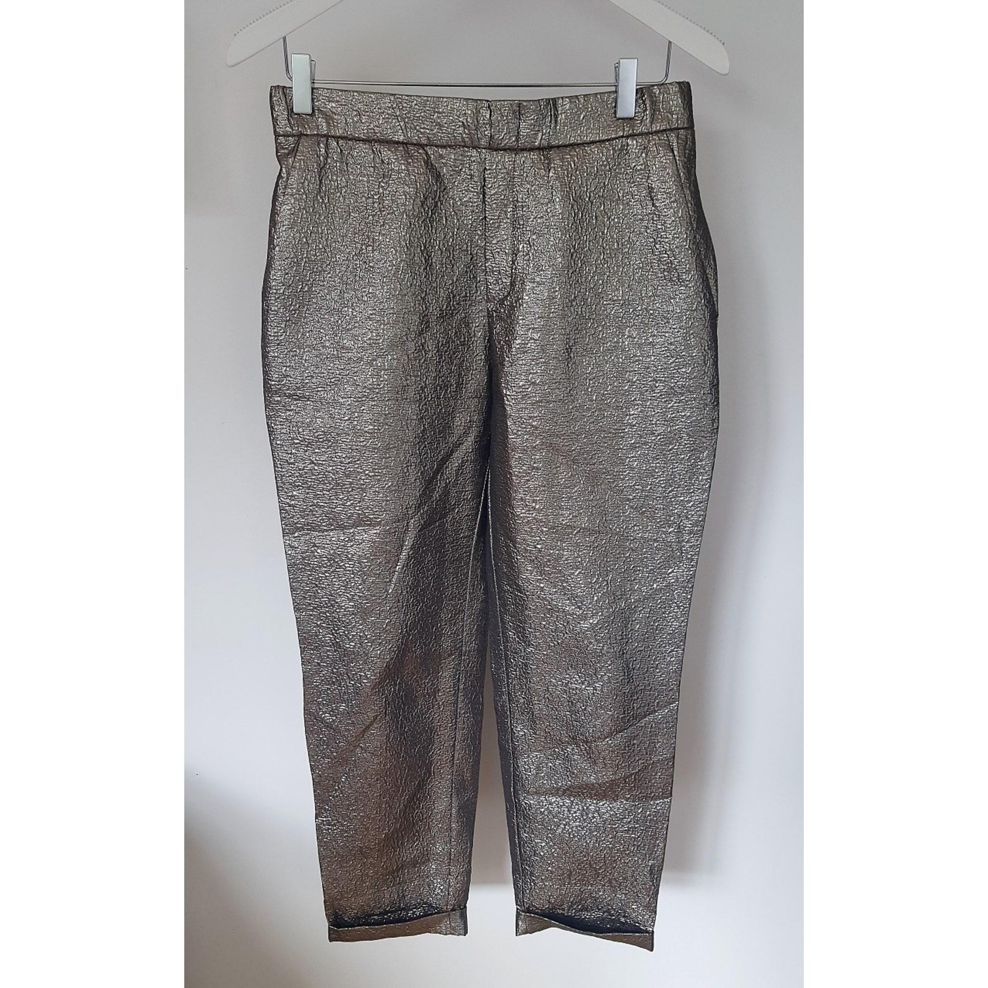 zara pantalon femme argenté