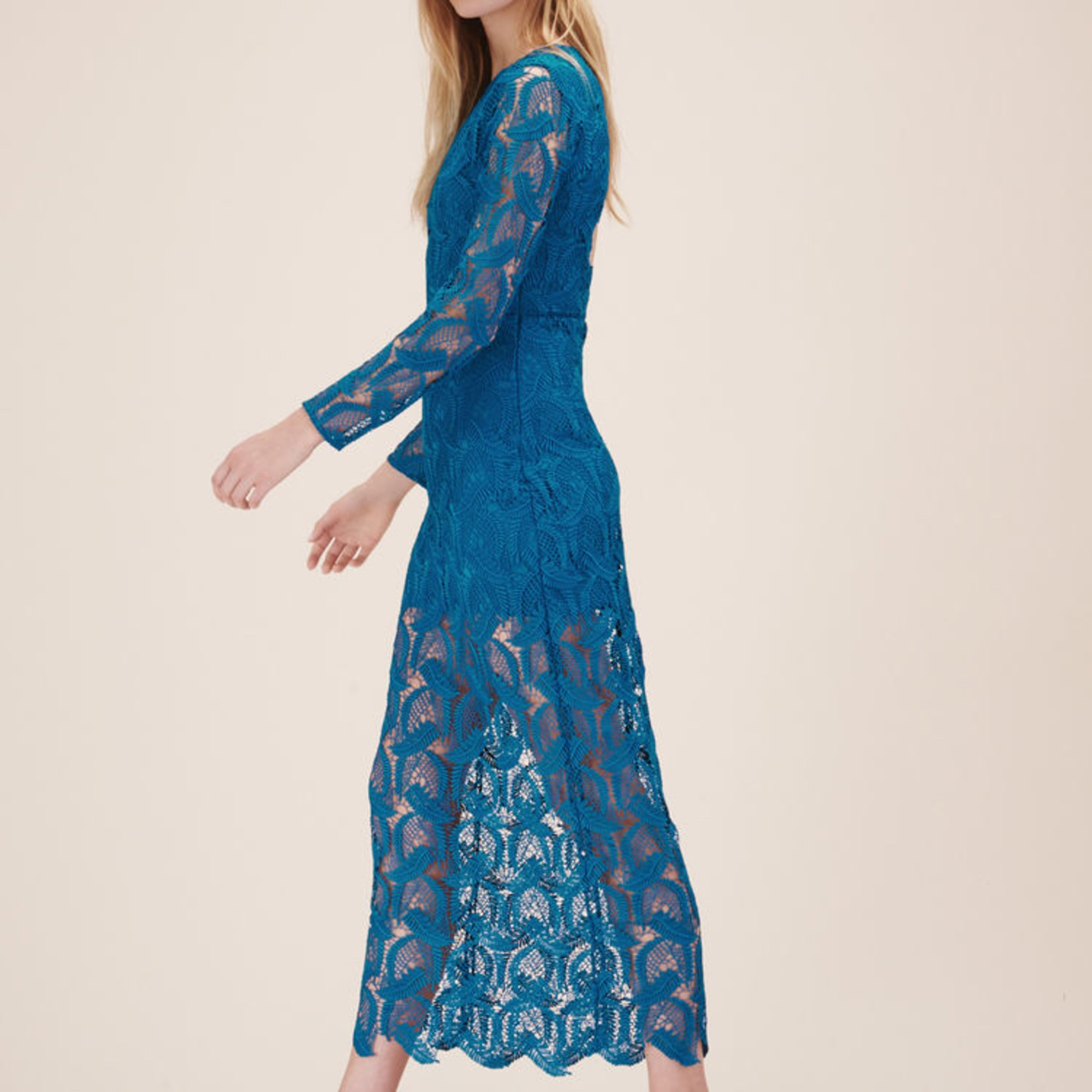 robe longue bleue maje