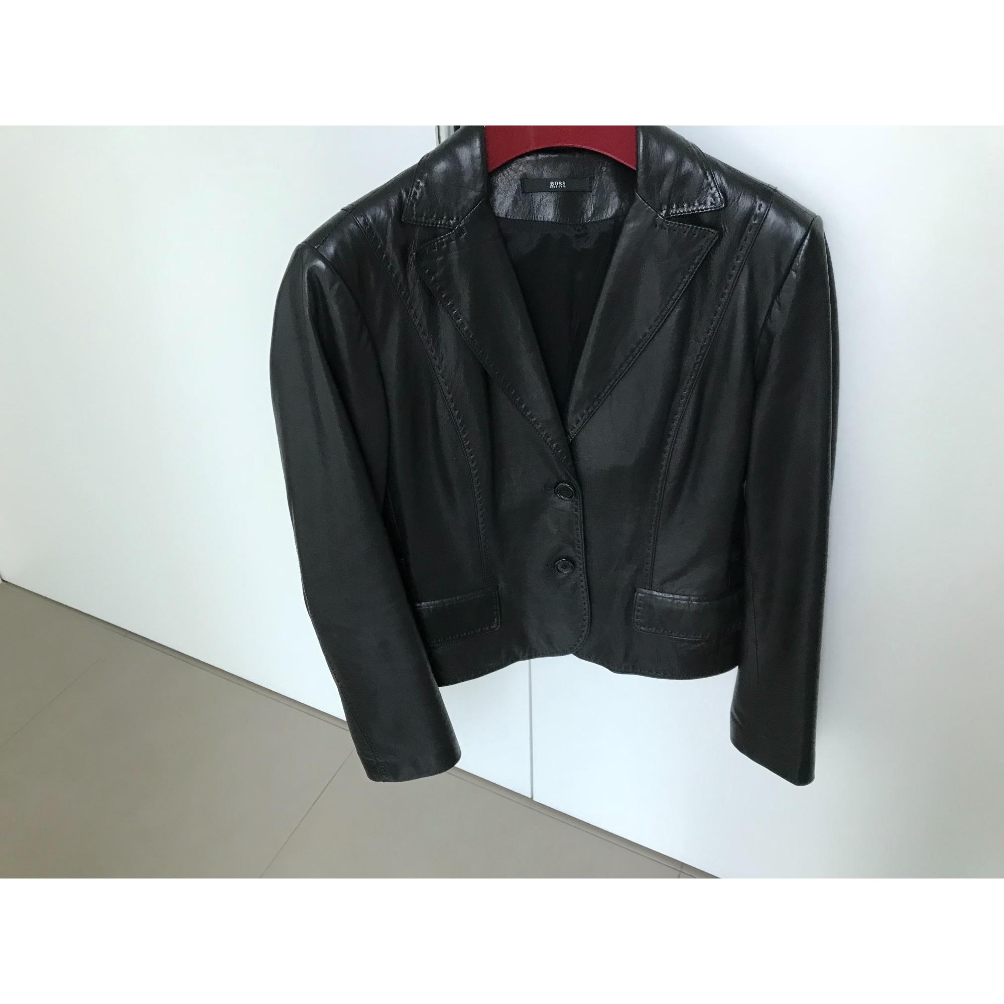 Veste en cuir HUGO BOSS 38 (M, T2) noir -