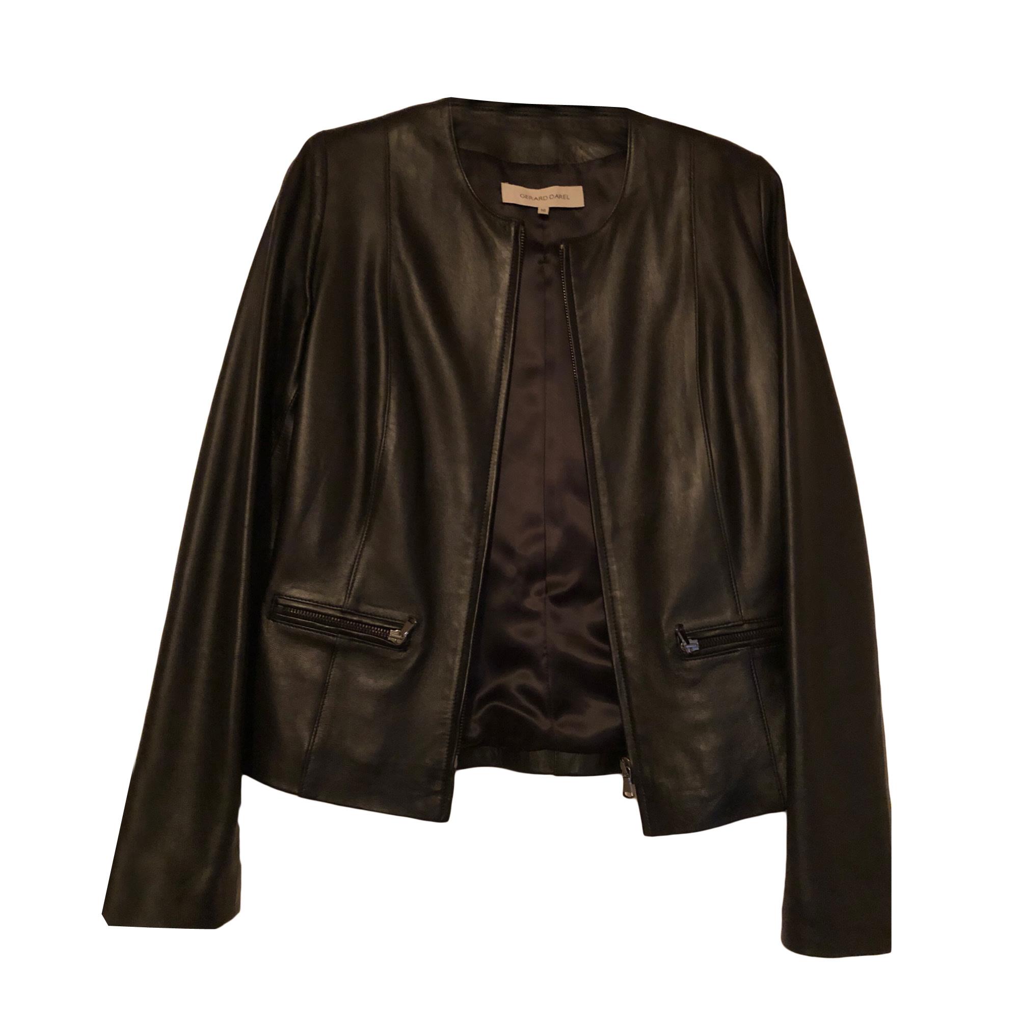 Leather Zipped Jacket GERARD DAREL Black