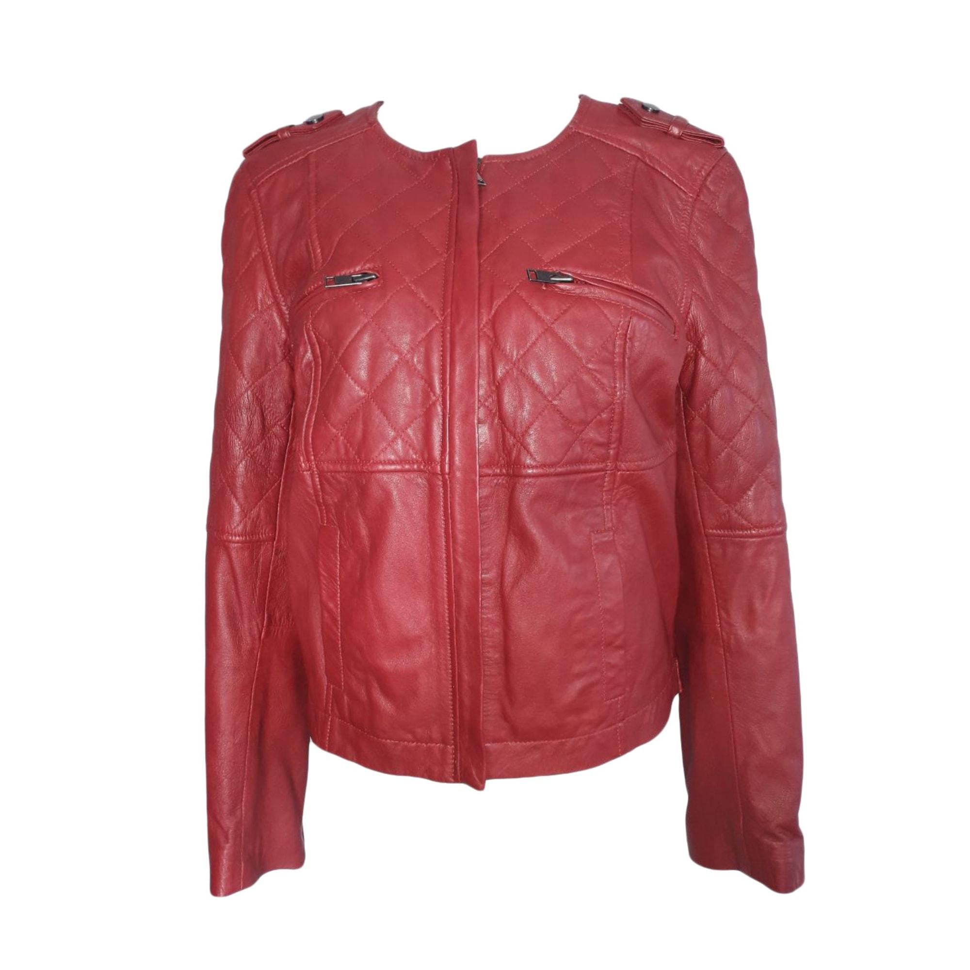 Veste en cuir COMPTOIR DES COTONNIERS 40 (L, T3) marron