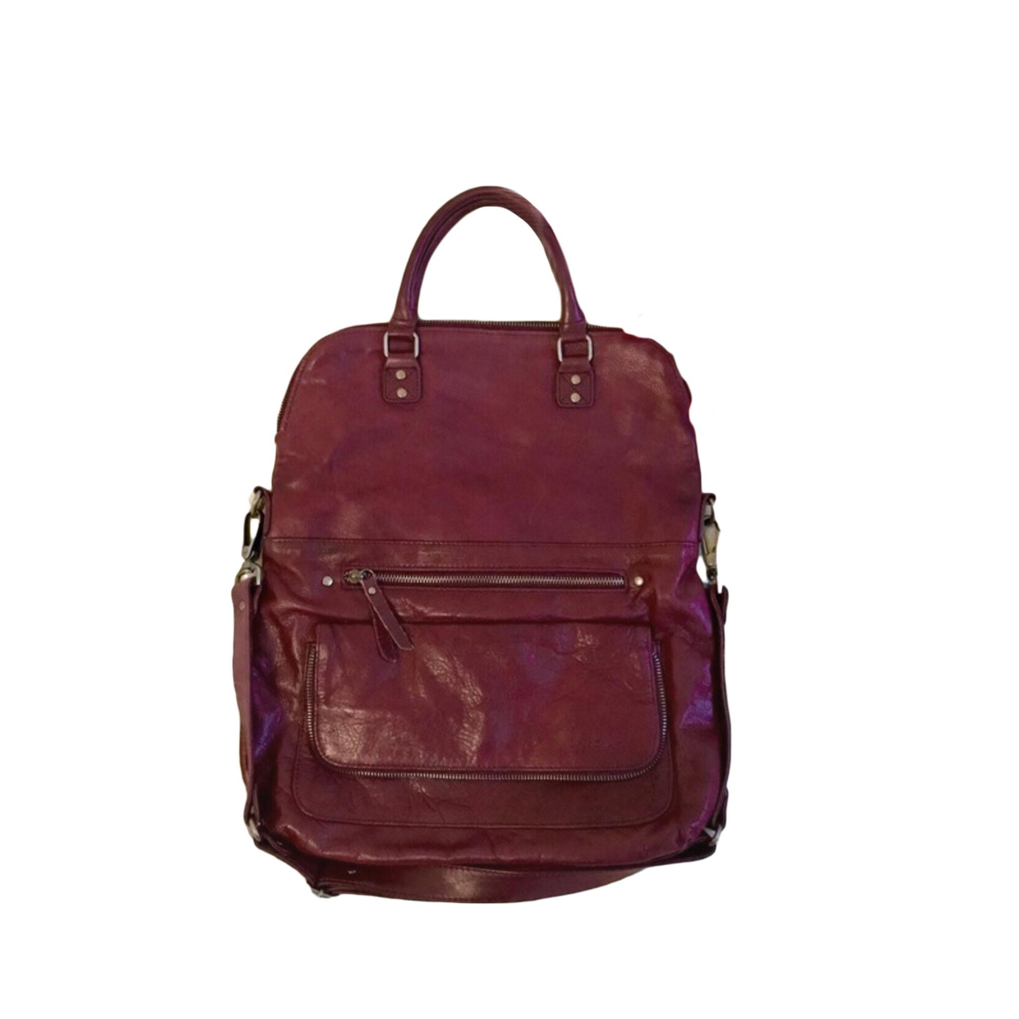 Leather Shoulder Bag NAT & NIN Red, burgundy