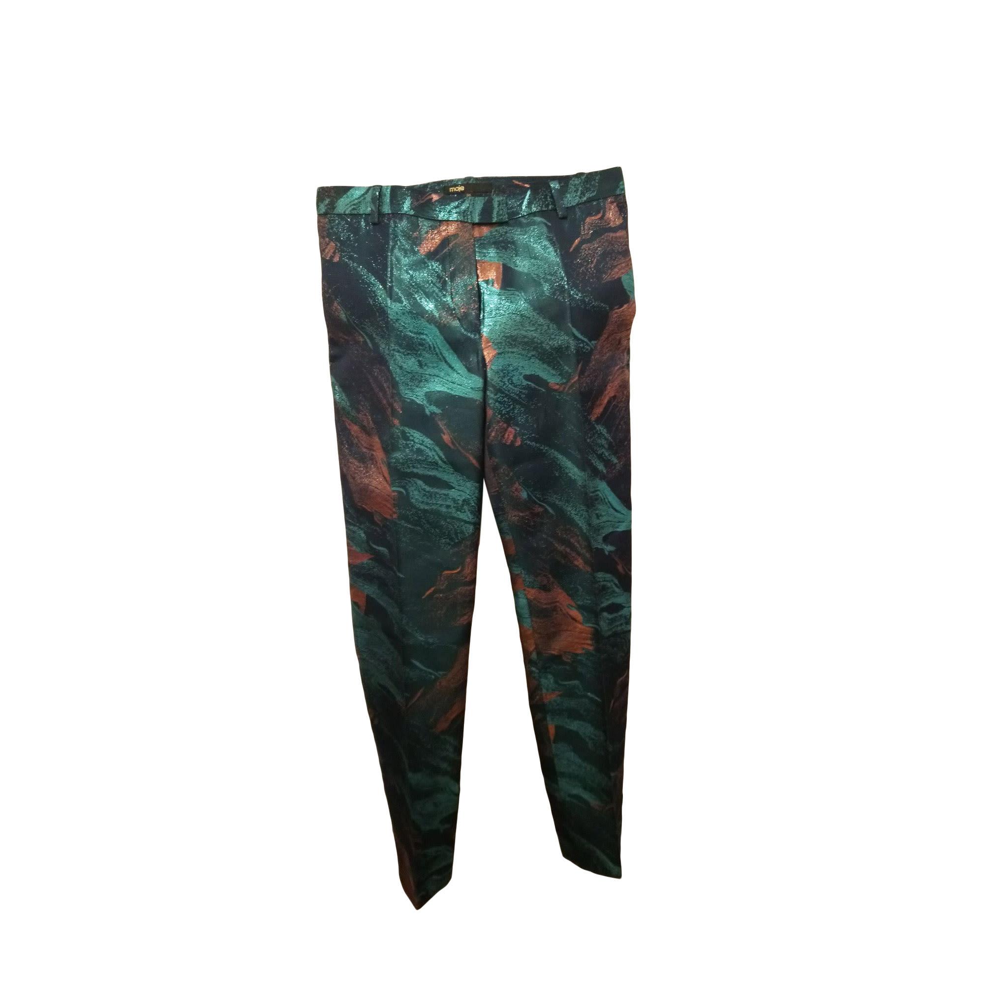 Straight Leg Pants MAJE Blue, navy, turquoise