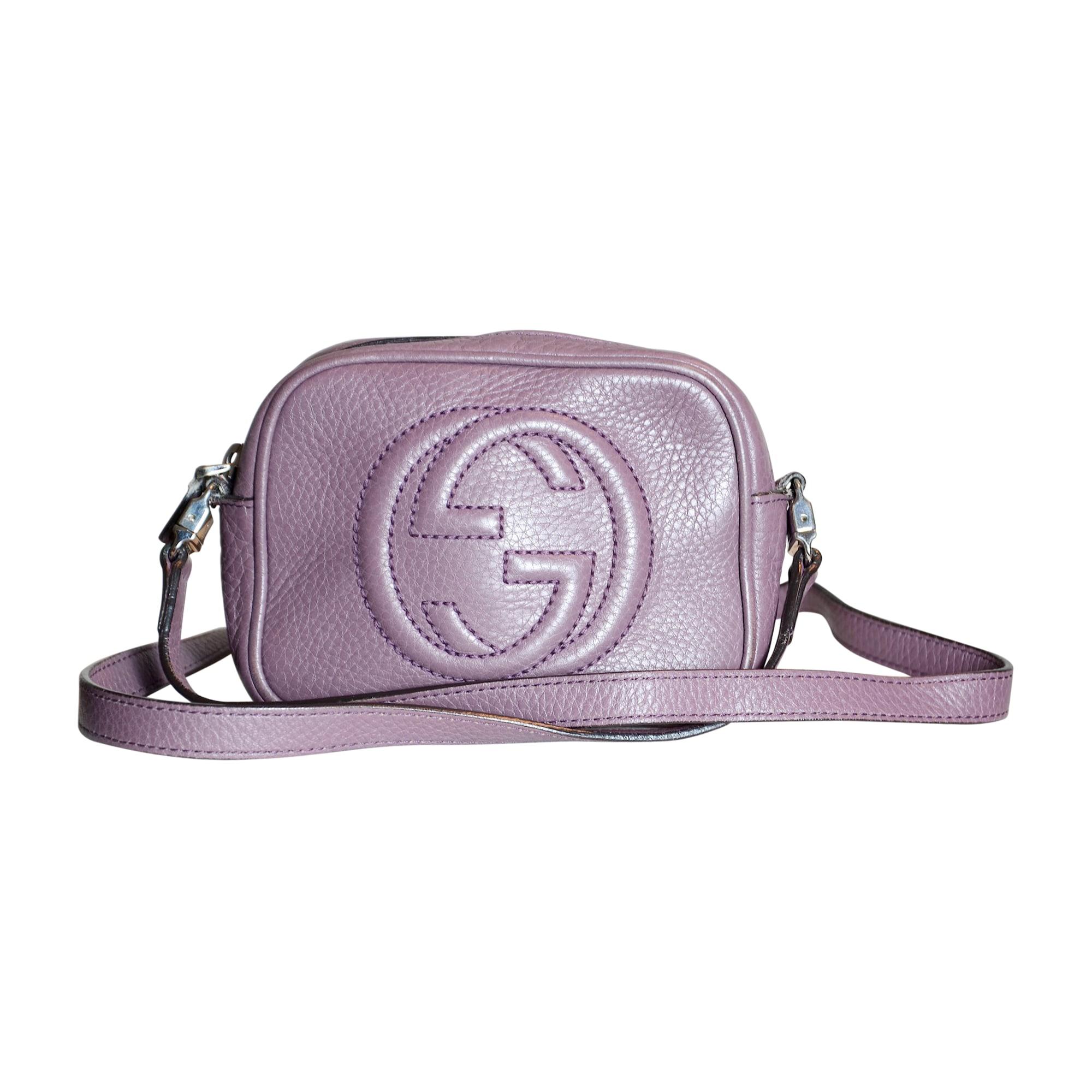Leather Shoulder Bag GUCCI Purple, mauve, lavender