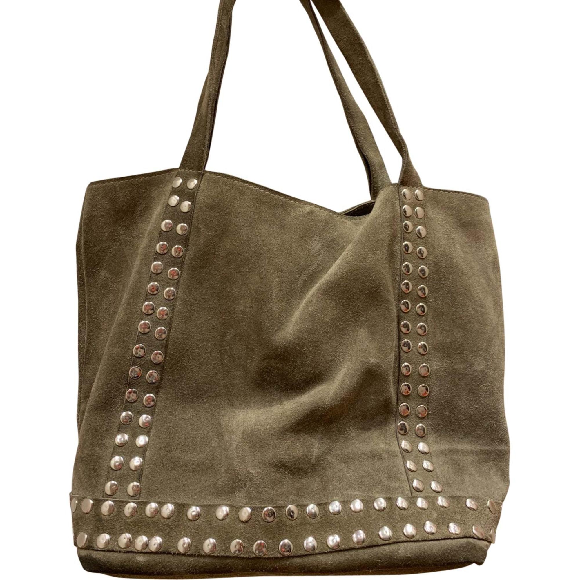 Leather Handbag VANESSA BRUNO Khaki
