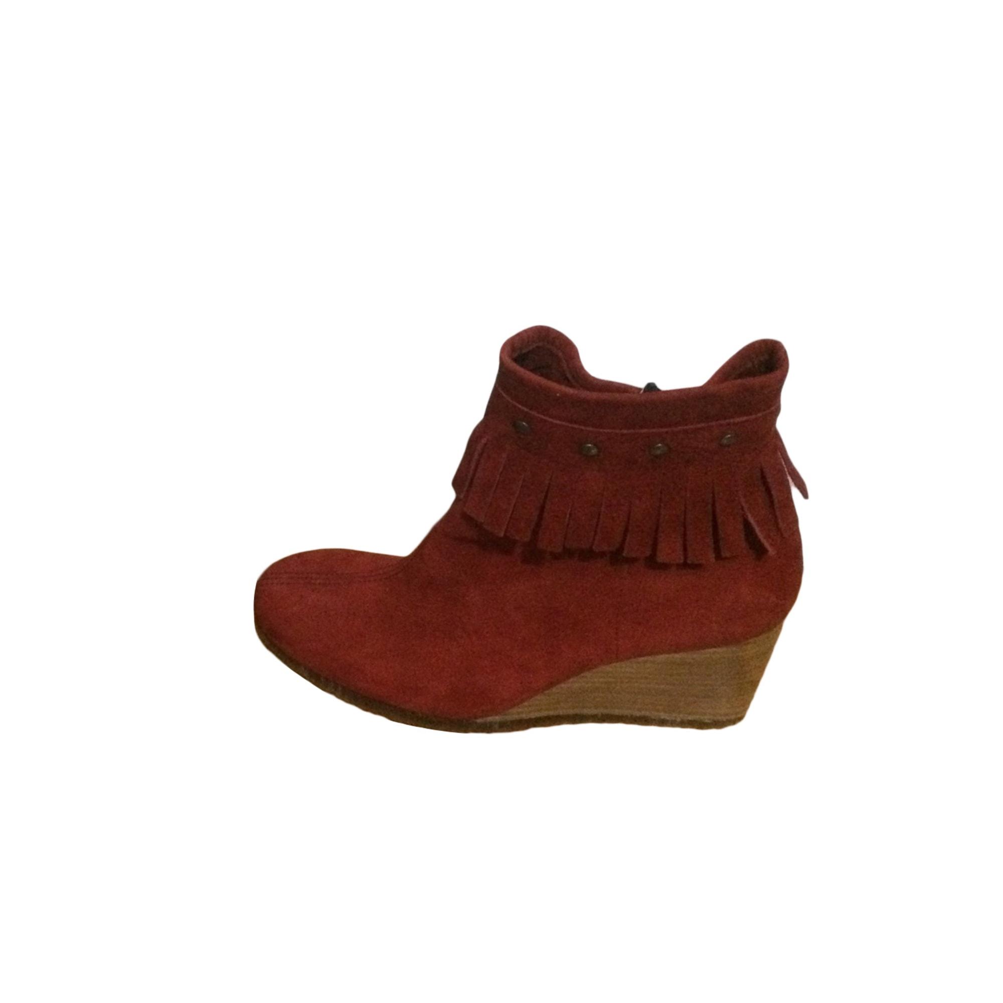 Bottines & low boots à compensés ARCHE Rouge, bordeaux