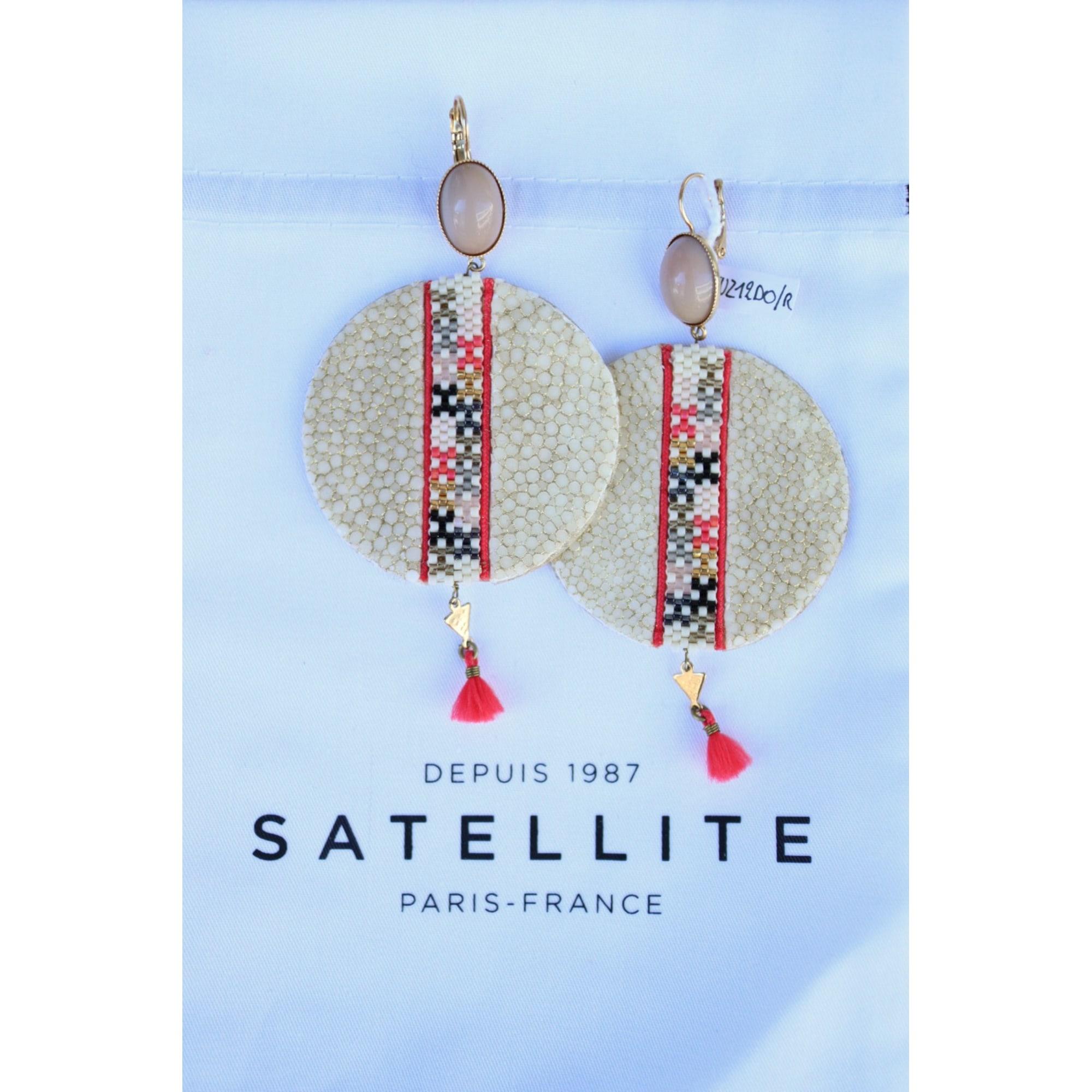 Boucles d'oreille SATELLITE métal blanc