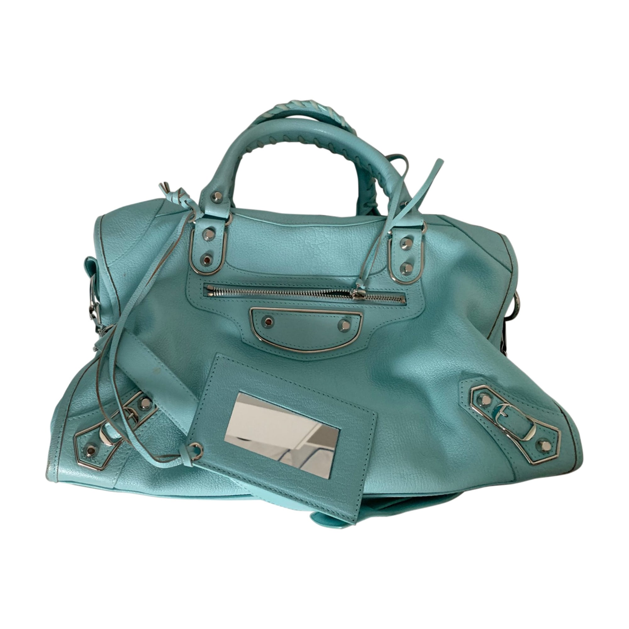Leather Shoulder Bag BALENCIAGA City Blue, navy, turquoise