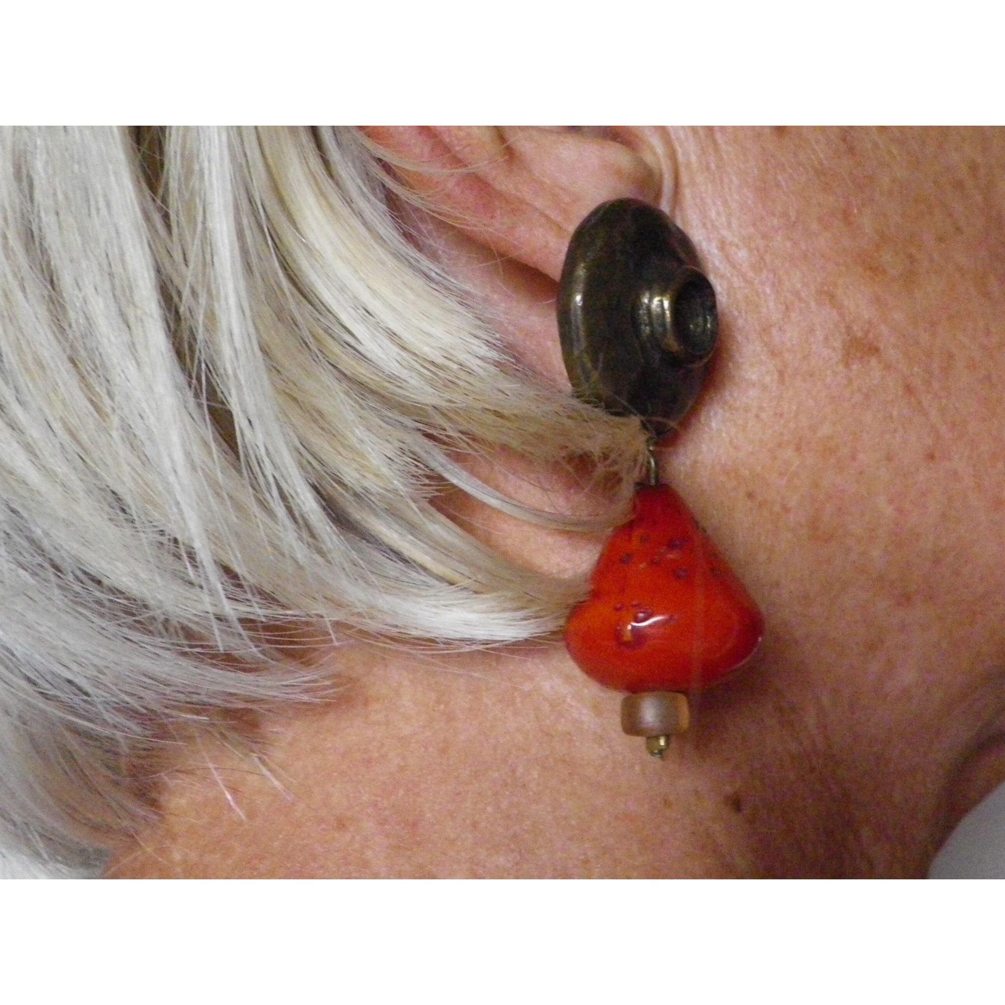Boucles d'oreille DOMINIQUE DENAIVE cuivre doré
