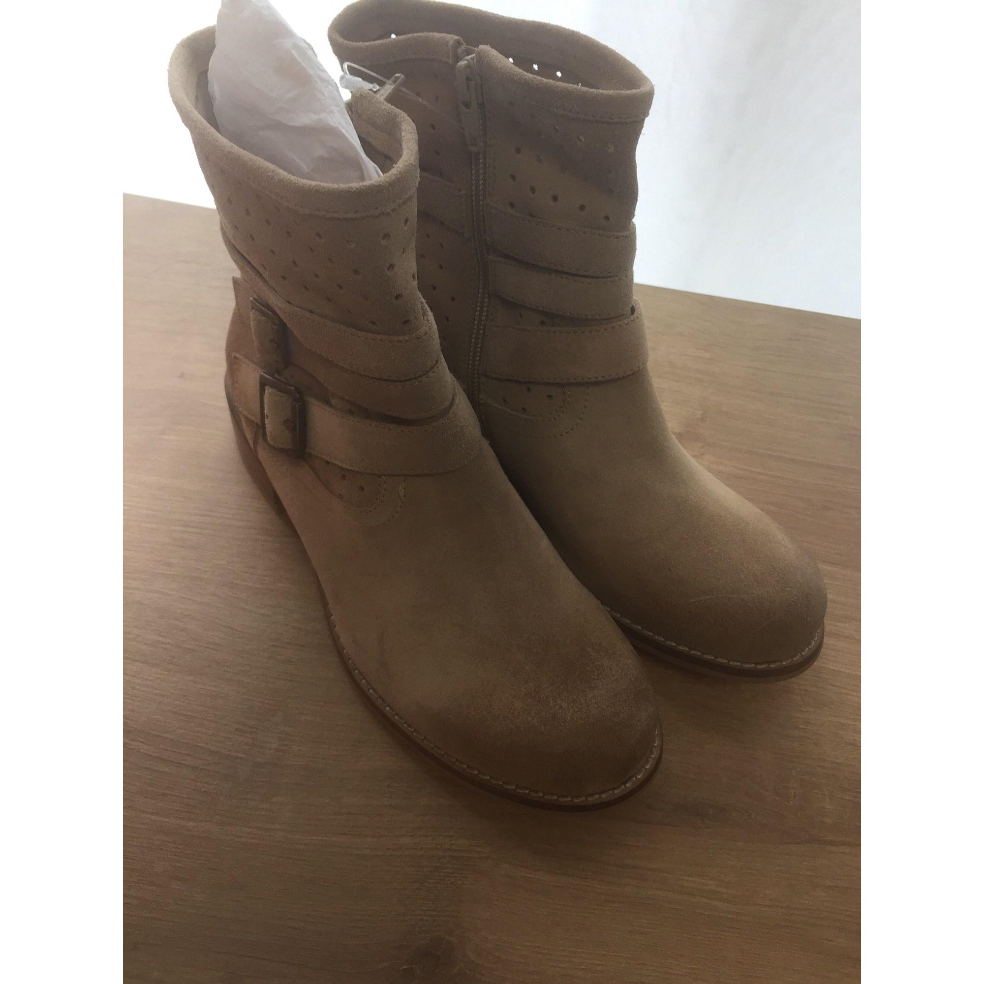 Bottines & low boots plates KICKERS Beige, camel