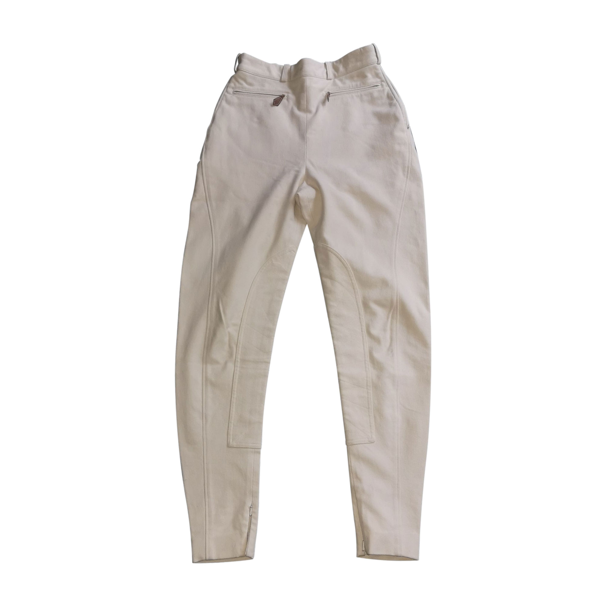 Pantalon slim, cigarette HERMÈS Blanc, blanc cassé, écru