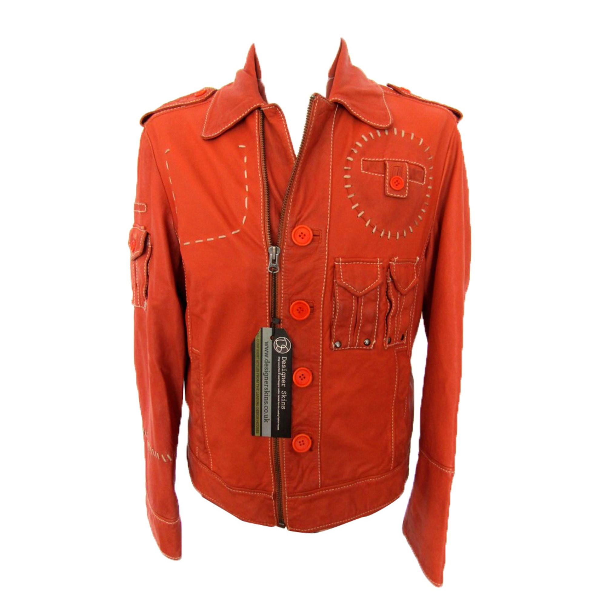 Blouson en cuir DIRK BIKKEMBERGS Orange