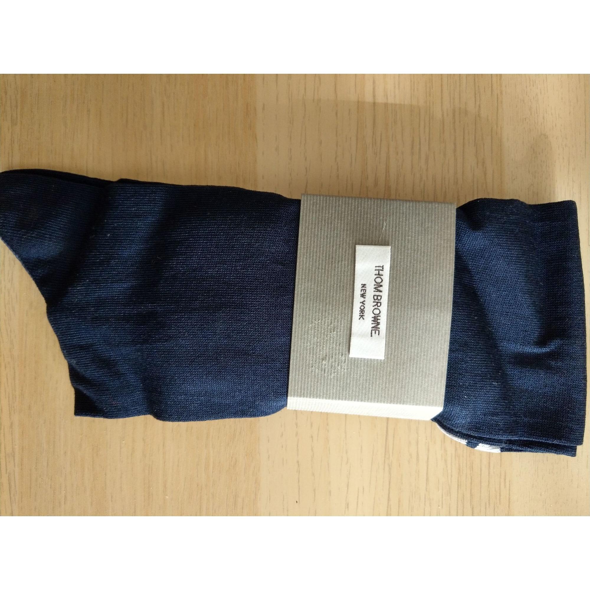 Chaussettes mi-cuisse THOM BROWNE Bleu, bleu marine, bleu turquoise