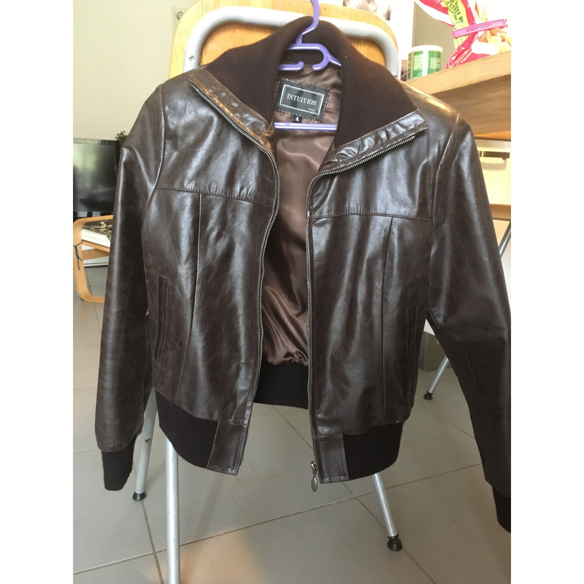 Veste en cuir INTUITION Marron