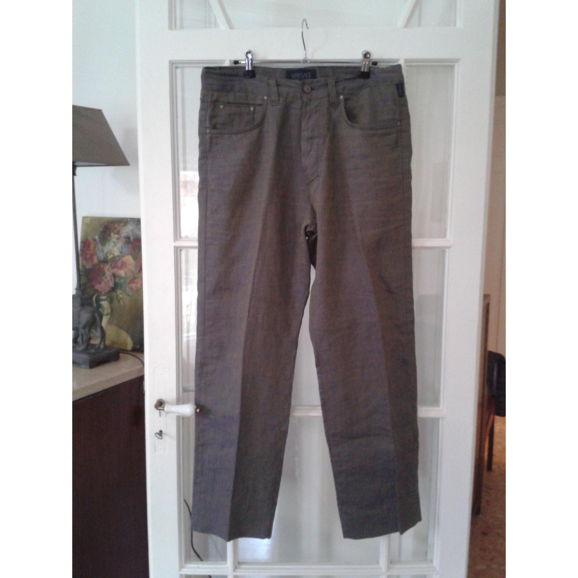 Jeans droit VERSACE Doré, bronze, cuivre