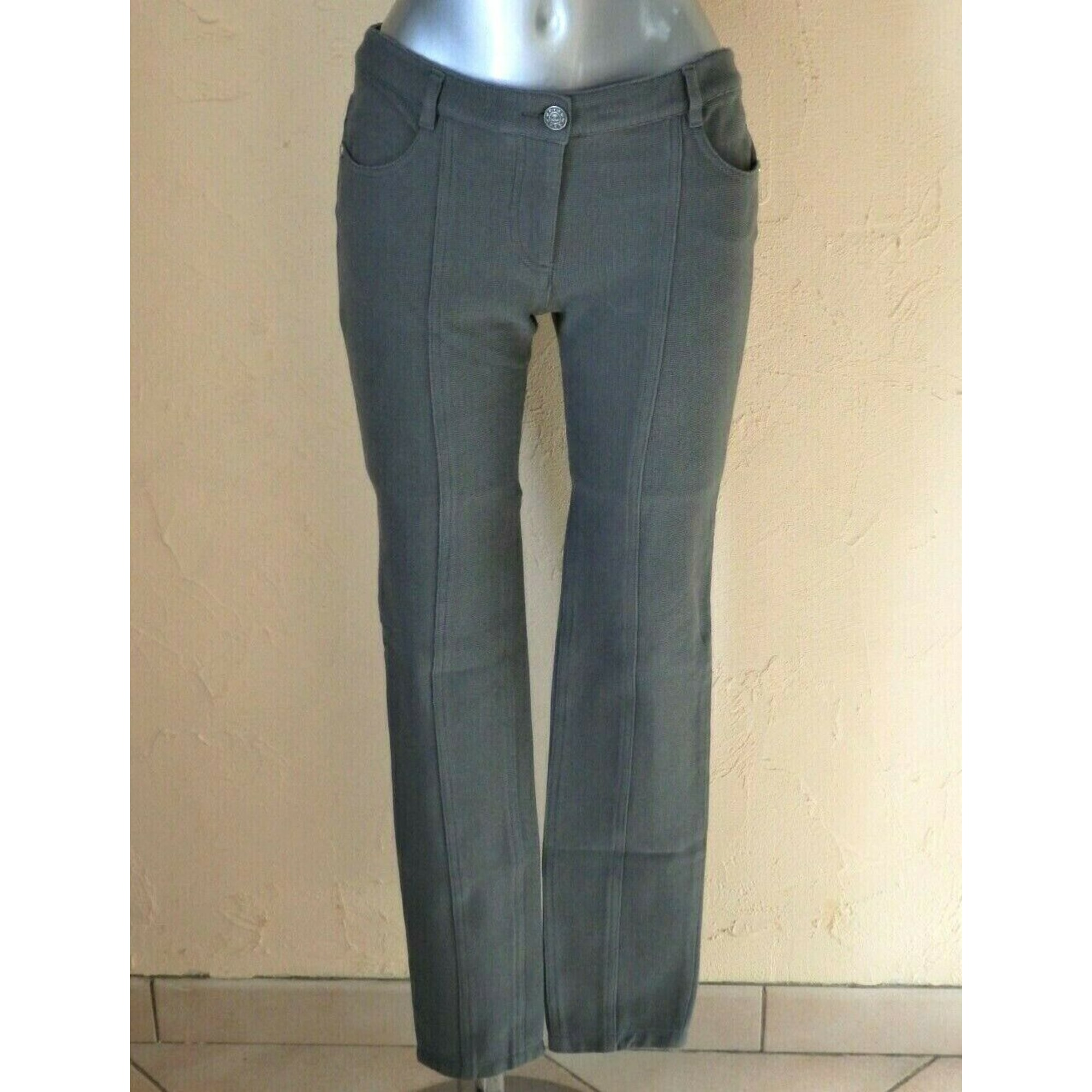 Pantalon slim, cigarette CHANEL Gris, anthracite