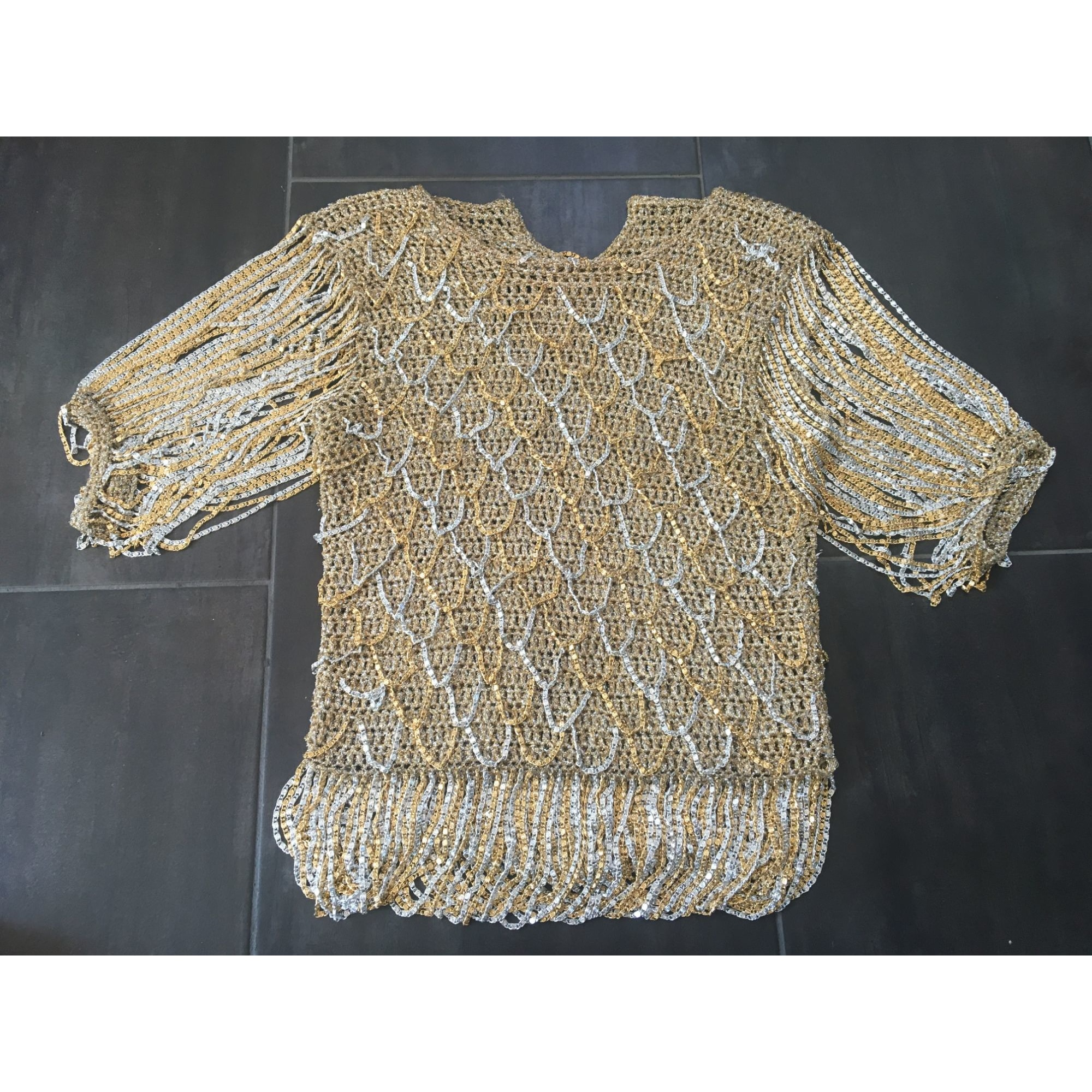 Top, tee-shirt LORIS AZZARO Doré, bronze, cuivre