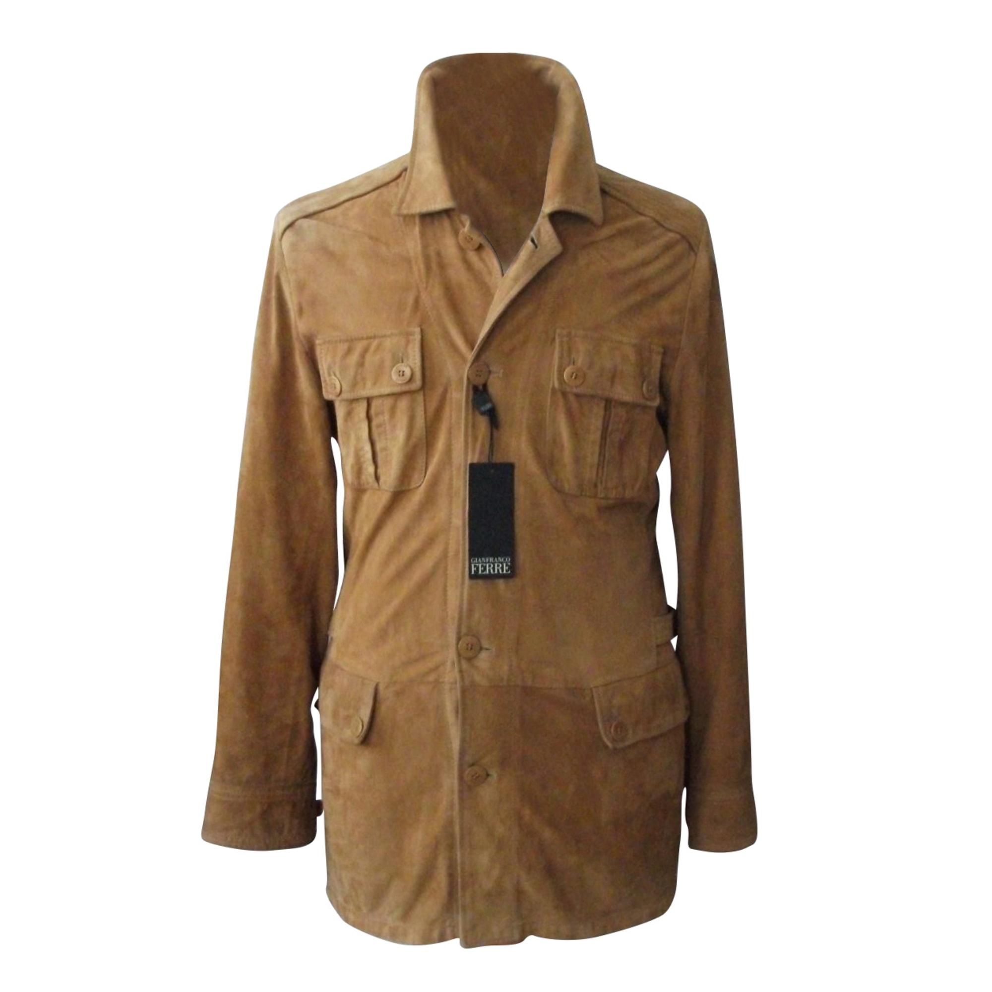 Veste en cuir GIANFRANCO FERRE Doré, bronze, cuivre