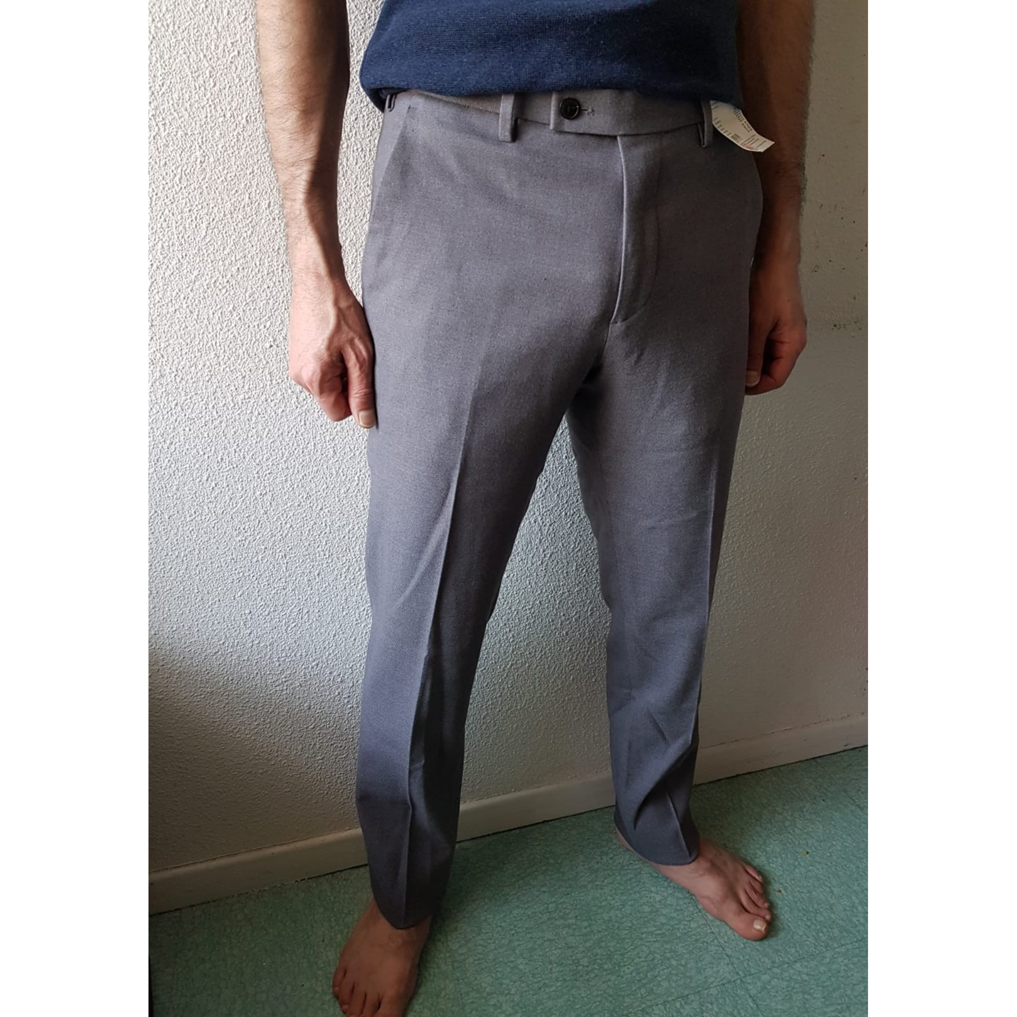 Pantalon slim UNIQLO Gris, anthracite