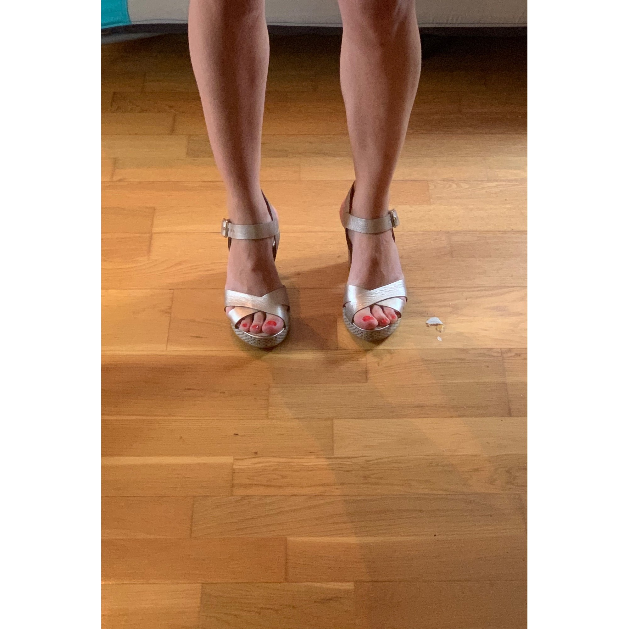 Sandales à talons JB MARTIN Doré, bronze, cuivre