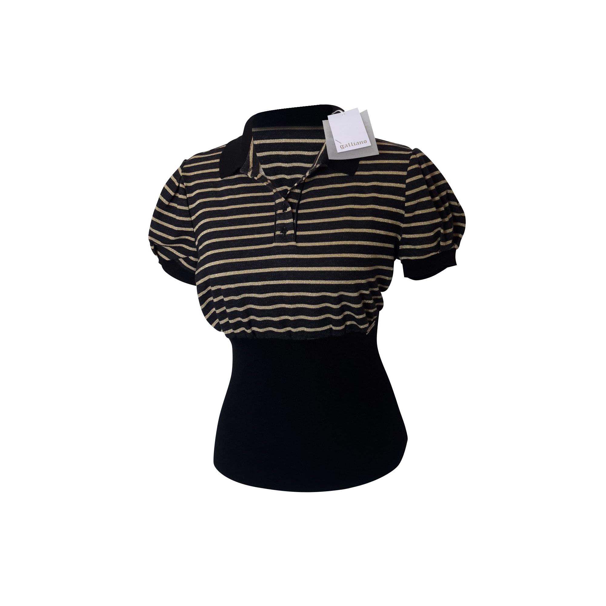 Top, tee-shirt JOHN GALLIANO Noir et Doré