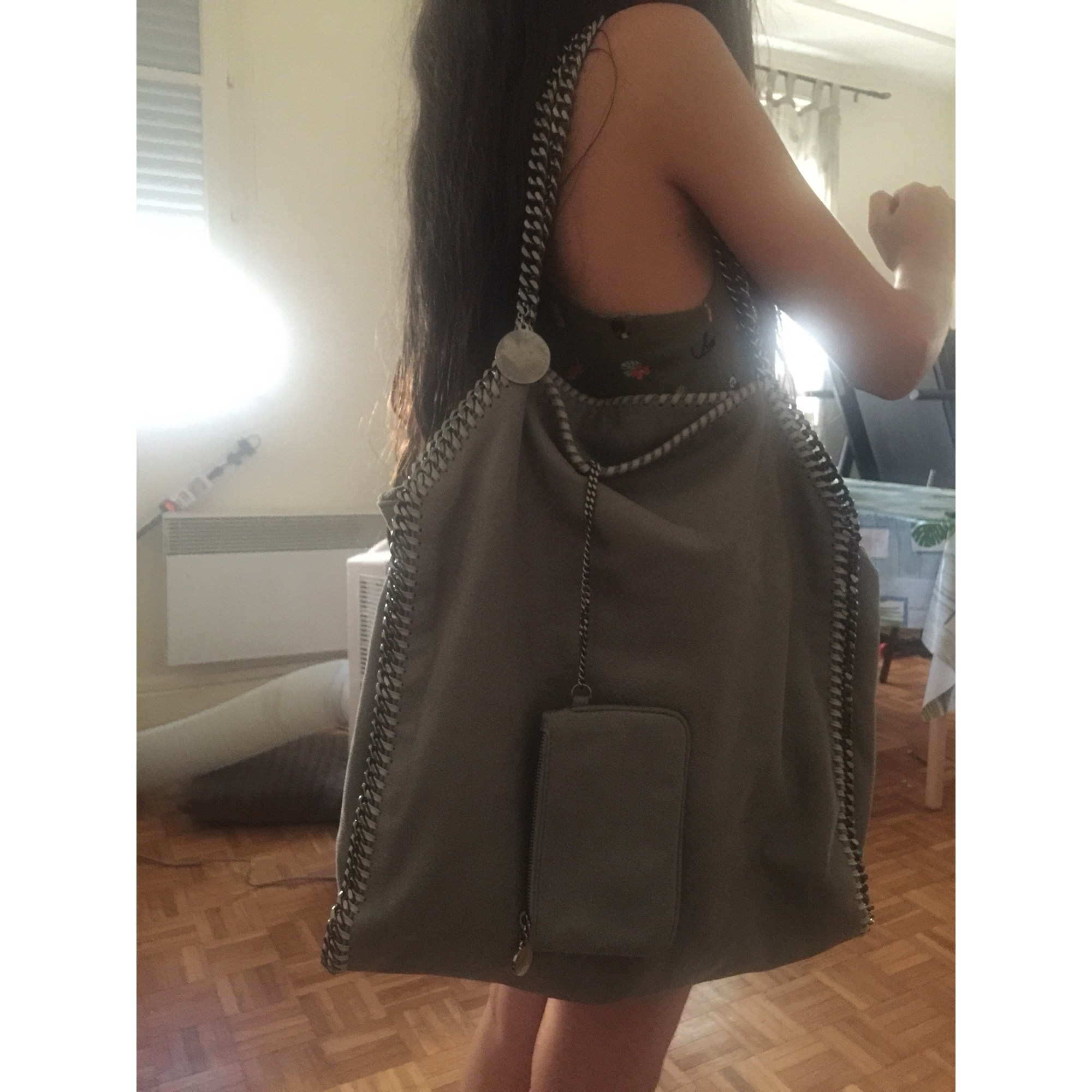 Sac XL en cuir STELLA MCCARTNEY Falabella Gris, anthracite