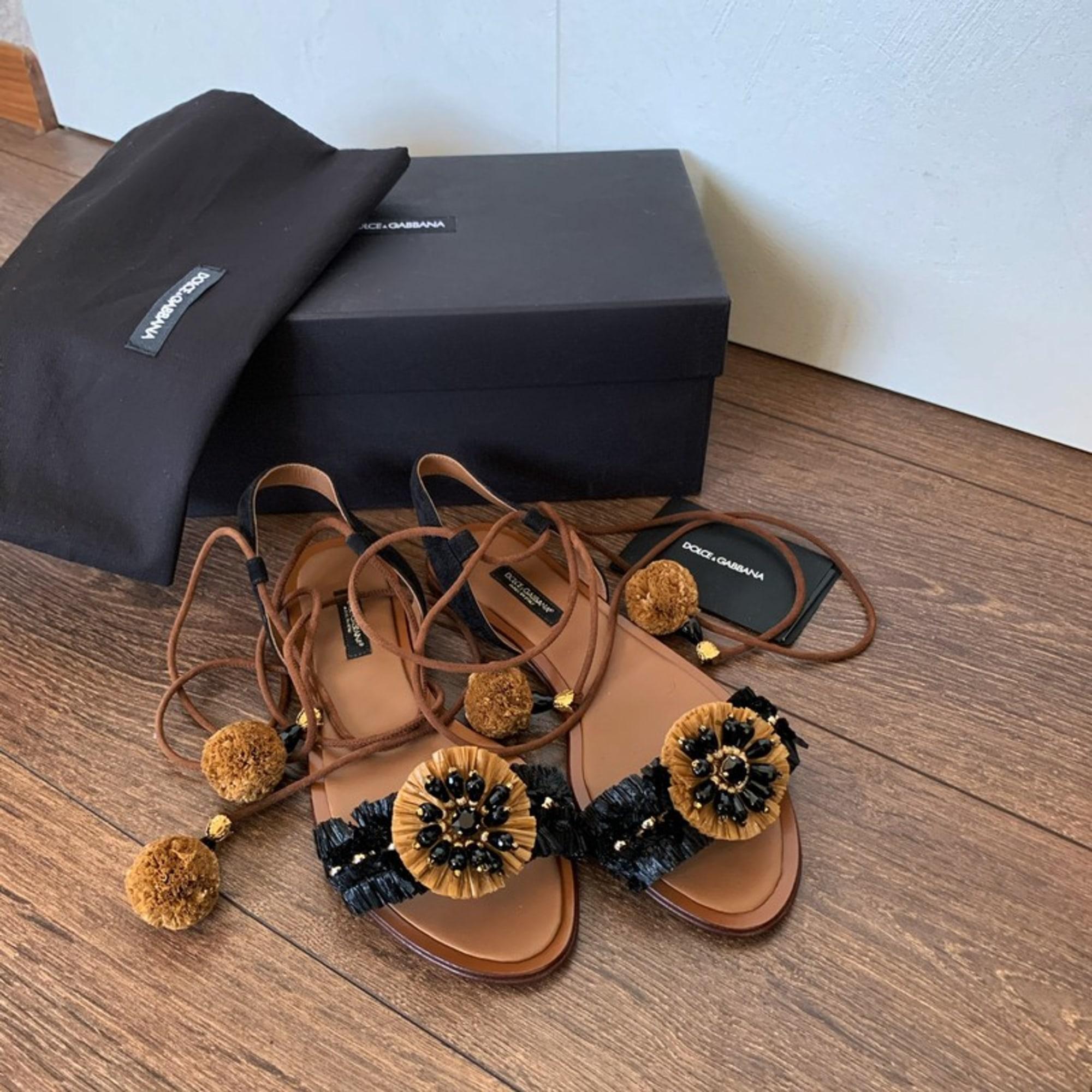 Sandales plates  DOLCE & GABBANA Noir