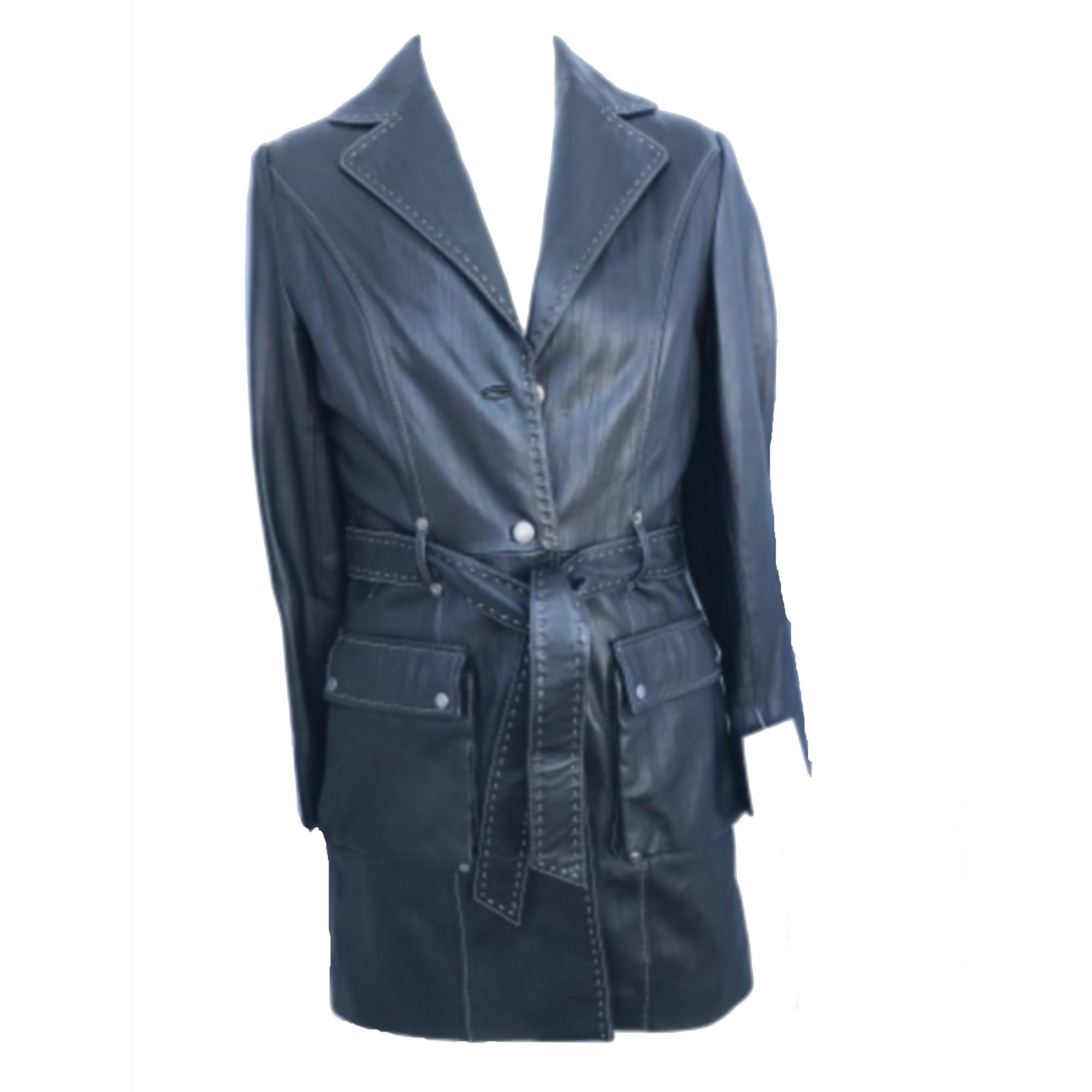 Manteau en cuir GIOVANNI Noir