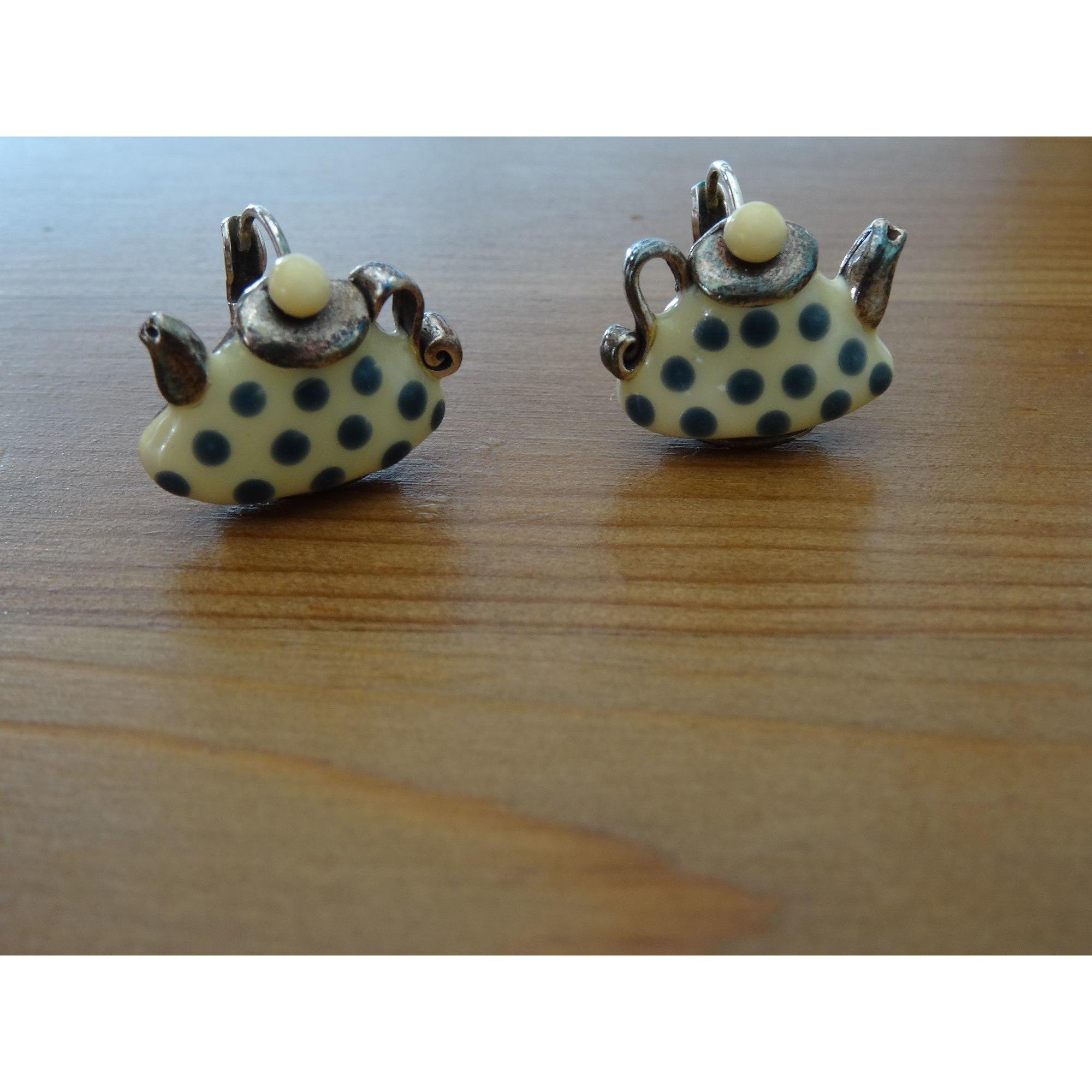 Boucles d'oreille TARATATA jaune pale et bleu