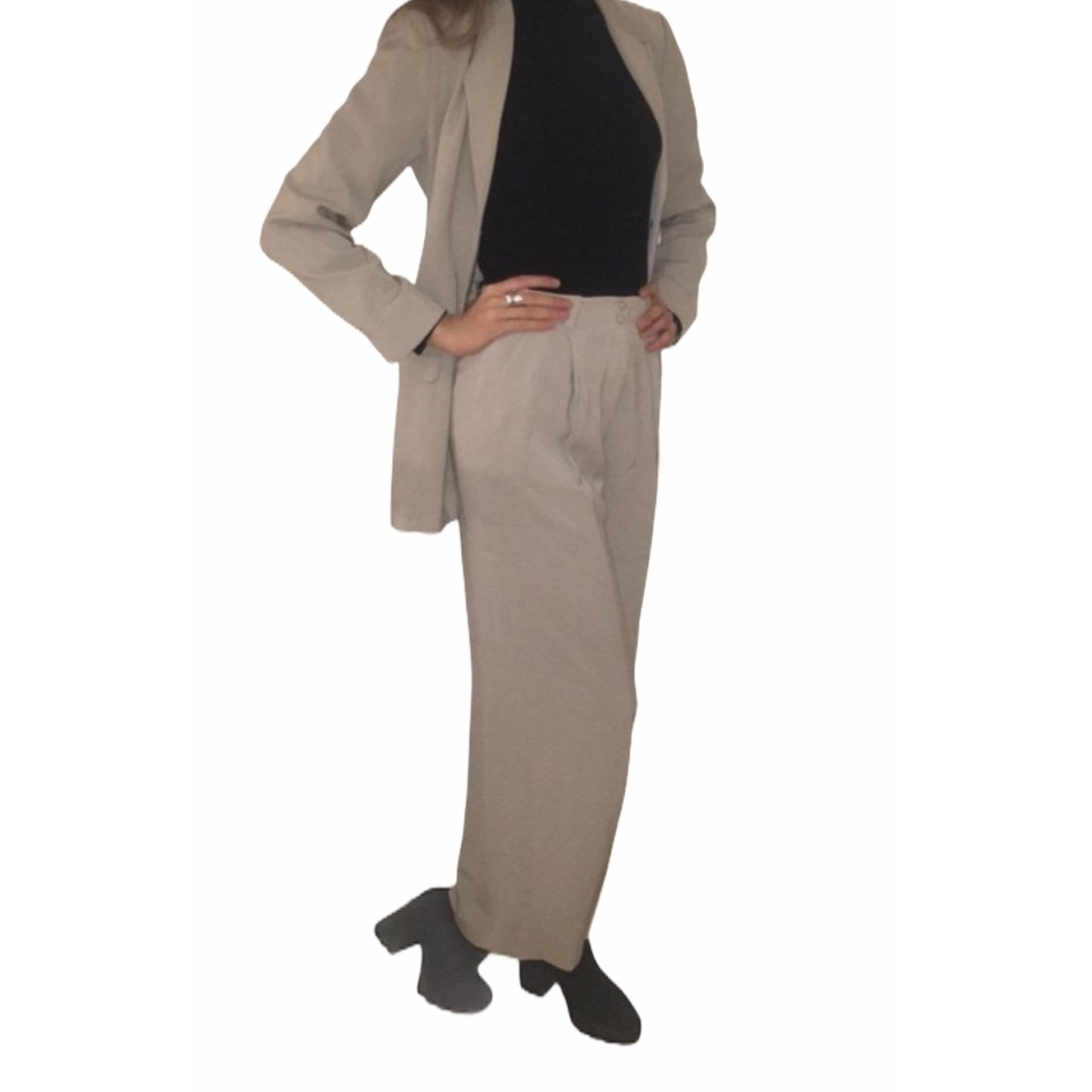 Tailleur pantalon THIERRY MUGLER Gris, anthracite