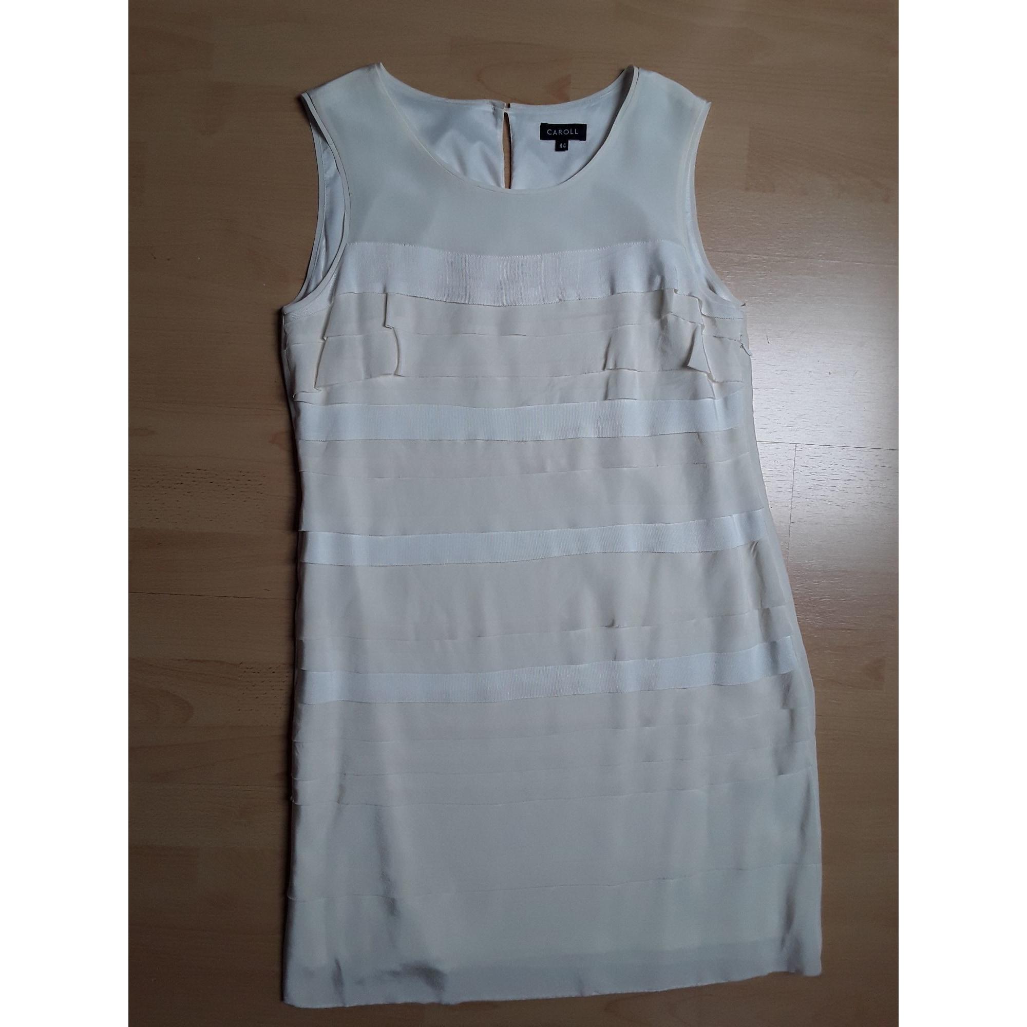 Robe courte CAROLL Blanc, blanc cassé, écru