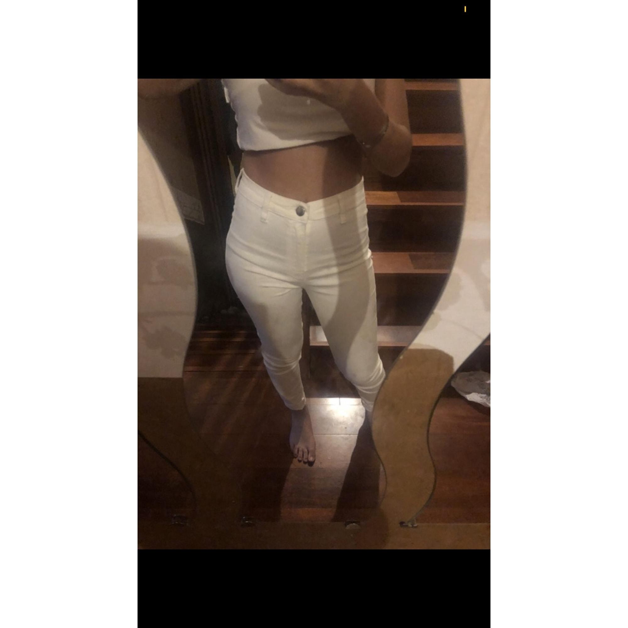 Jeans slim BERSHKA Blanc, blanc cassé, écru