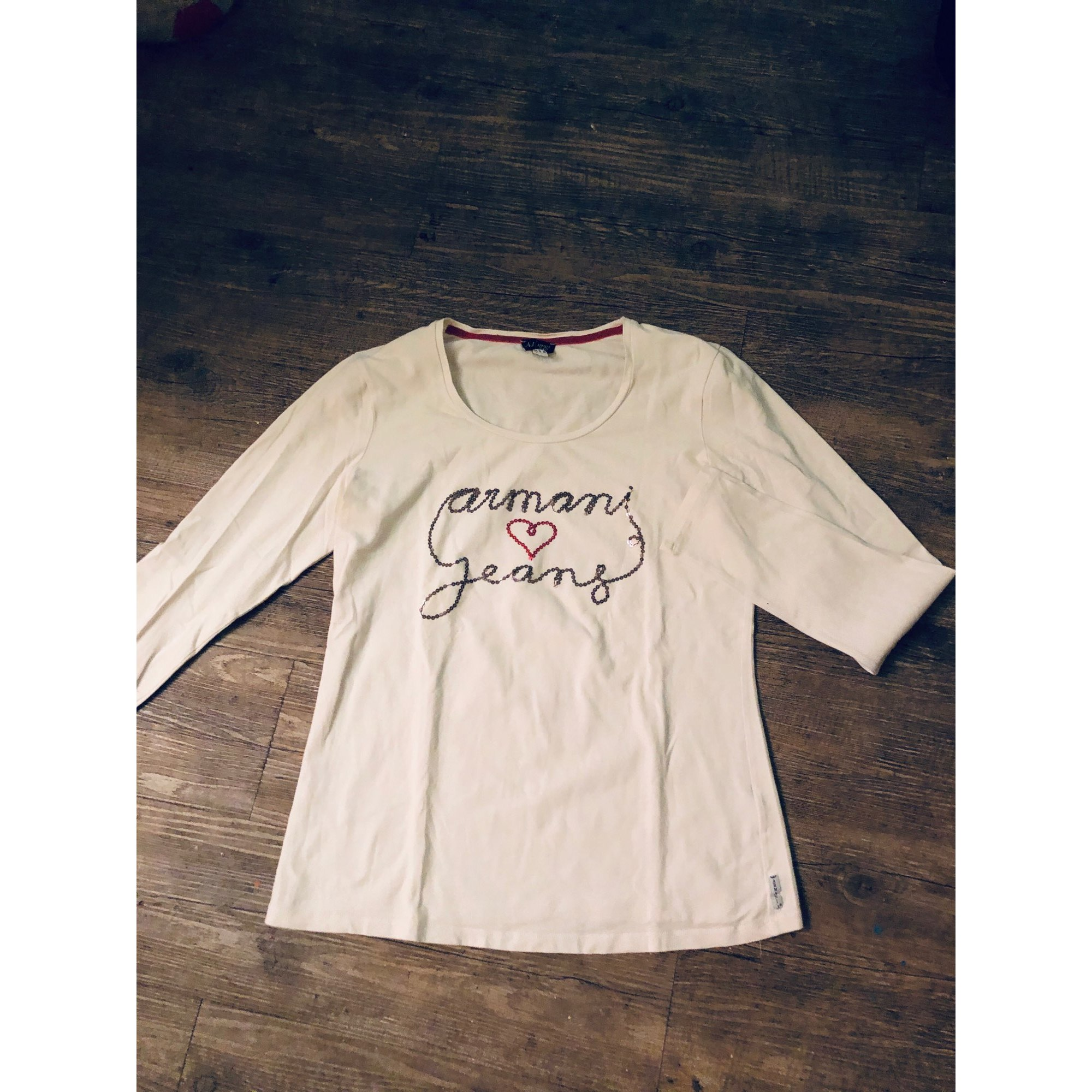 Top, tee-shirt ARMANI JEANS Blanc, blanc cassé, écru