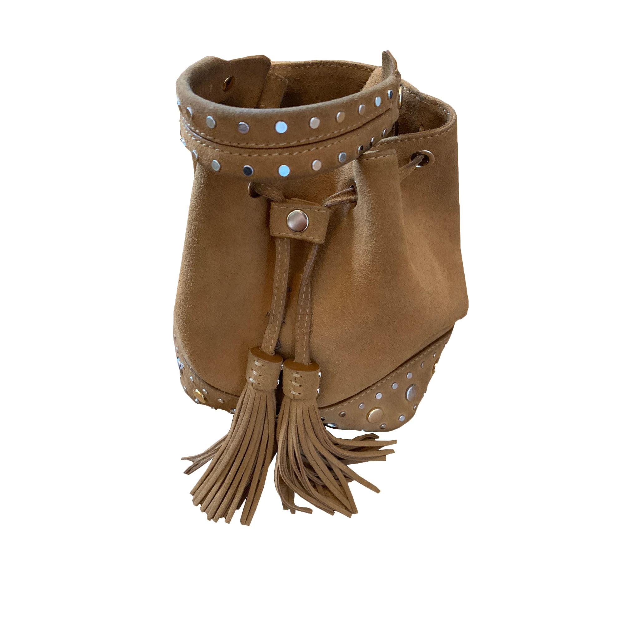 Sac à main en cuir SANDRO Beige, camel