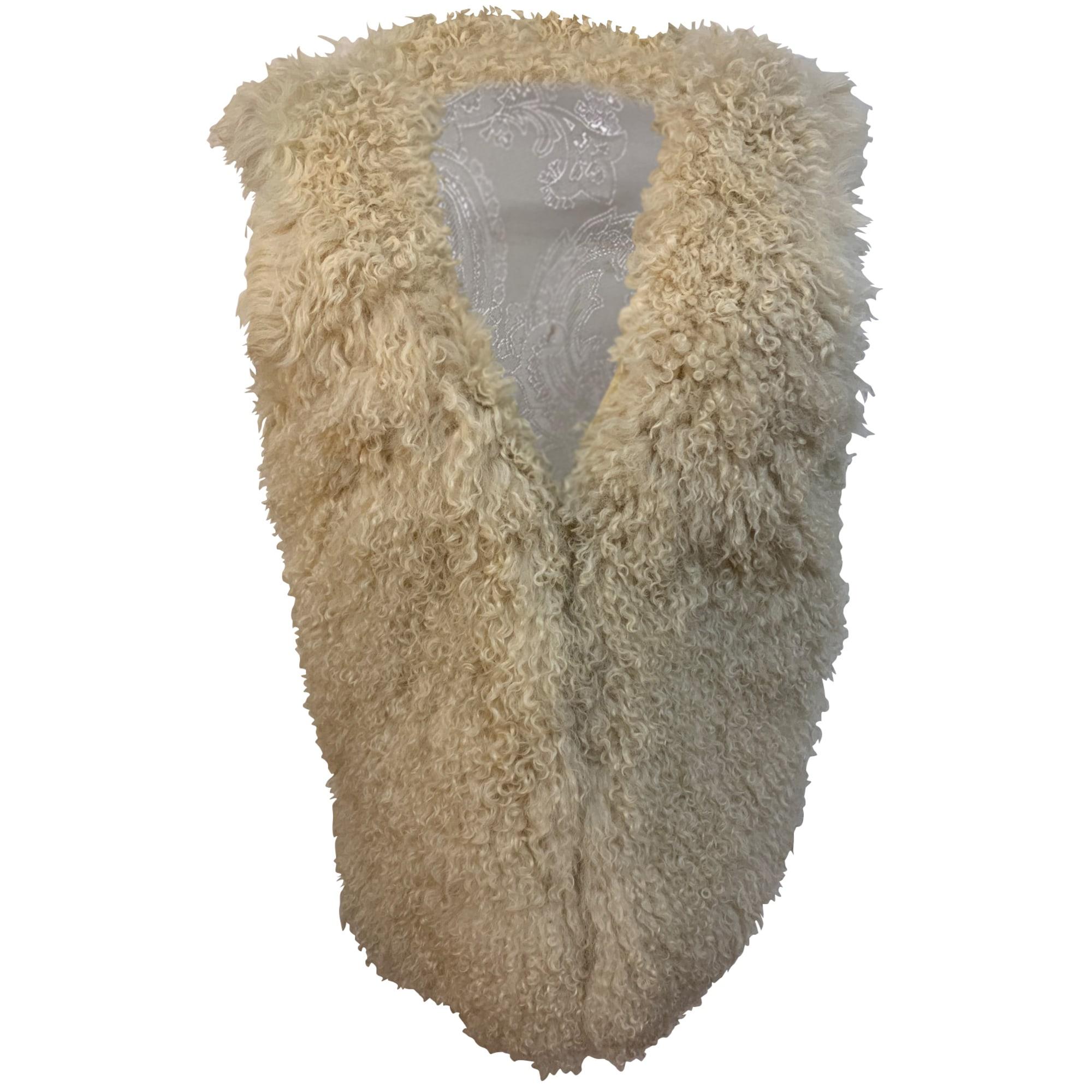 Gilet sans manches en fourrure CLAUDIE PIERLOT Beige, camel