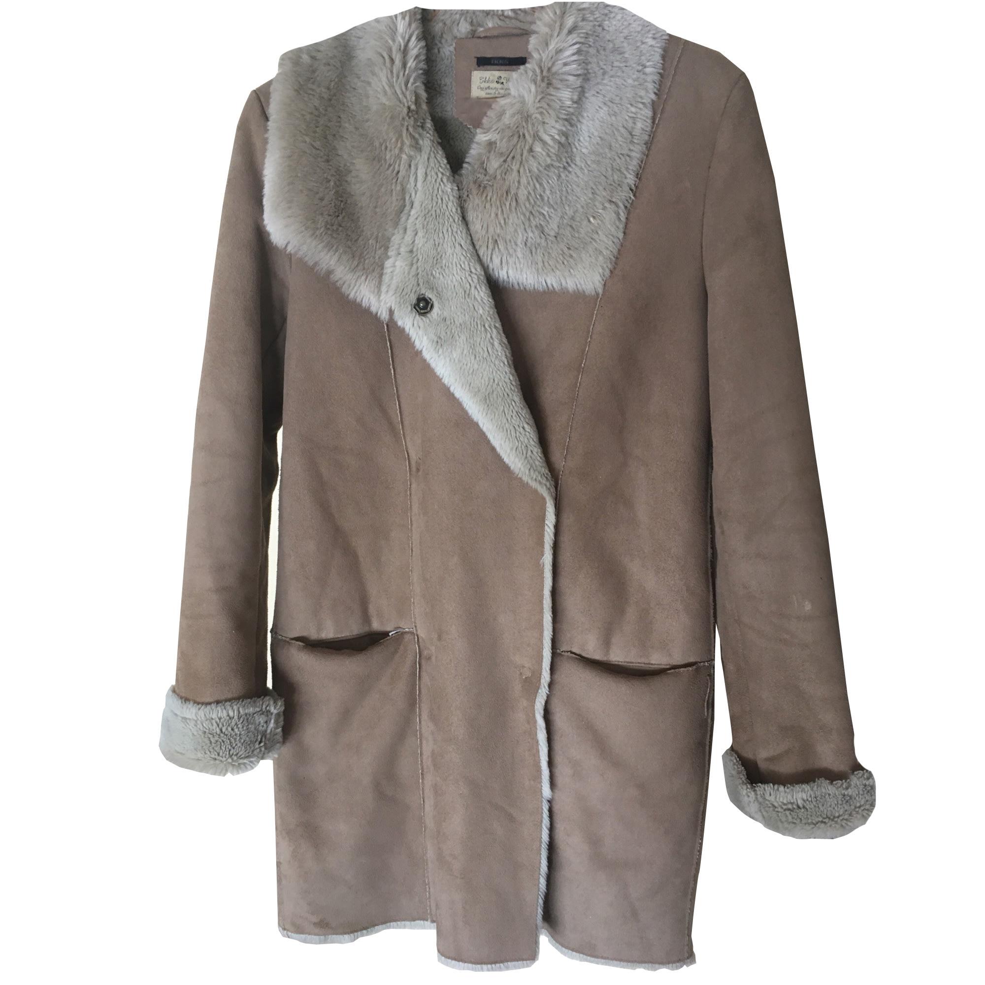 Manteau en fourrure IKKS Beige, camel