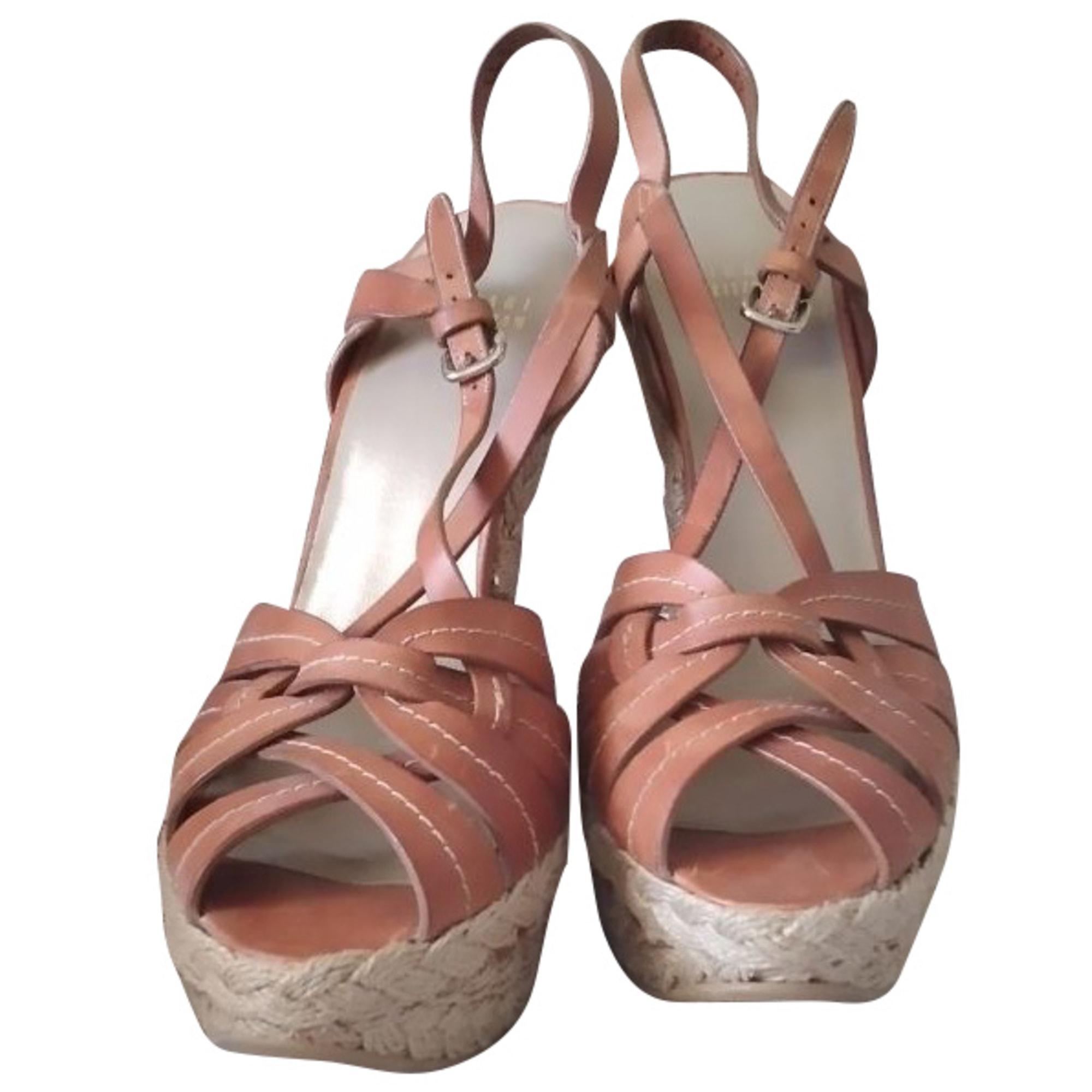 Sandales compensées STUART WEITZMAN Beige, camel