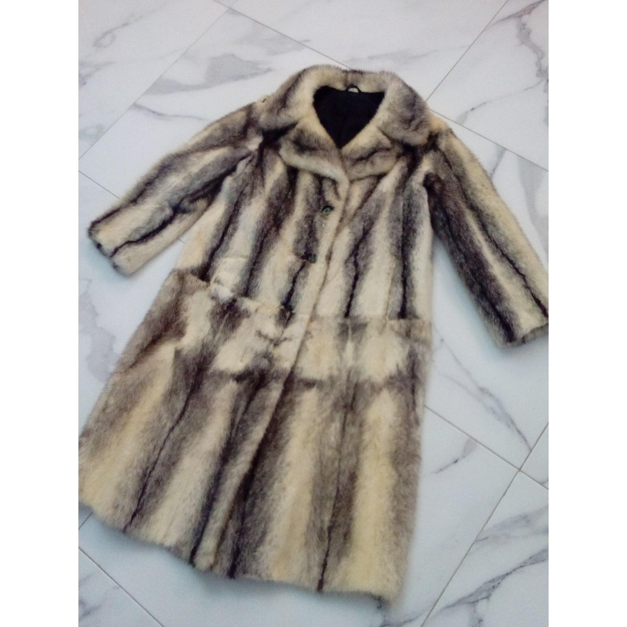 Manteau en fourrure VISON Blanc, blanc cassé, écru