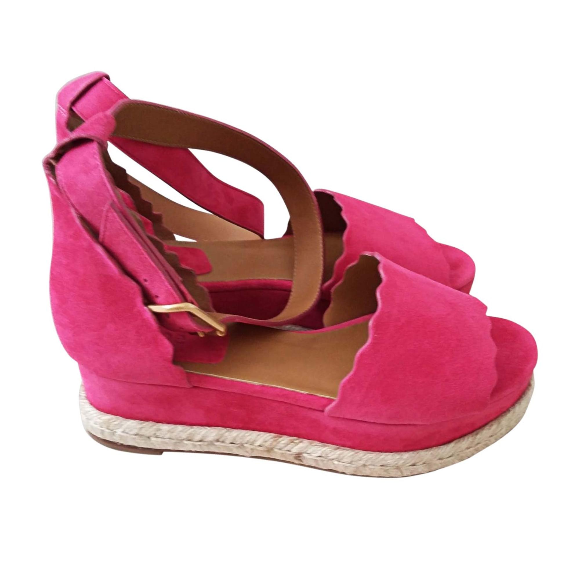 Sandales compensées CHLOÉ Rose, fuschia, vieux rose