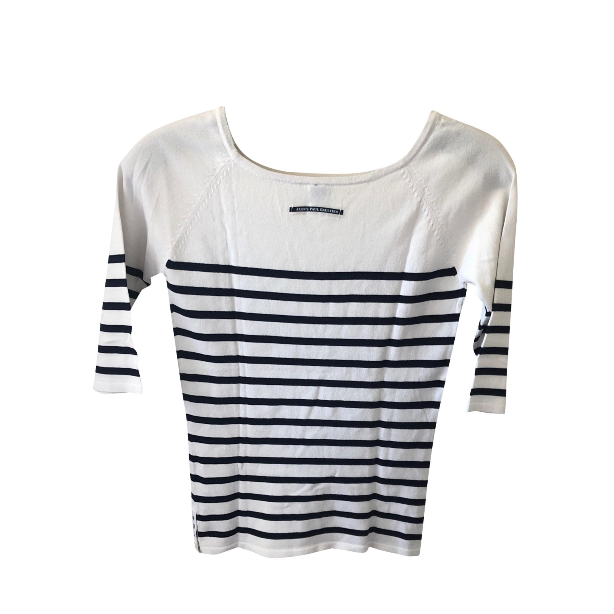 Top, tee-shirt JEAN PAUL GAULTIER Blanc rayé bleu