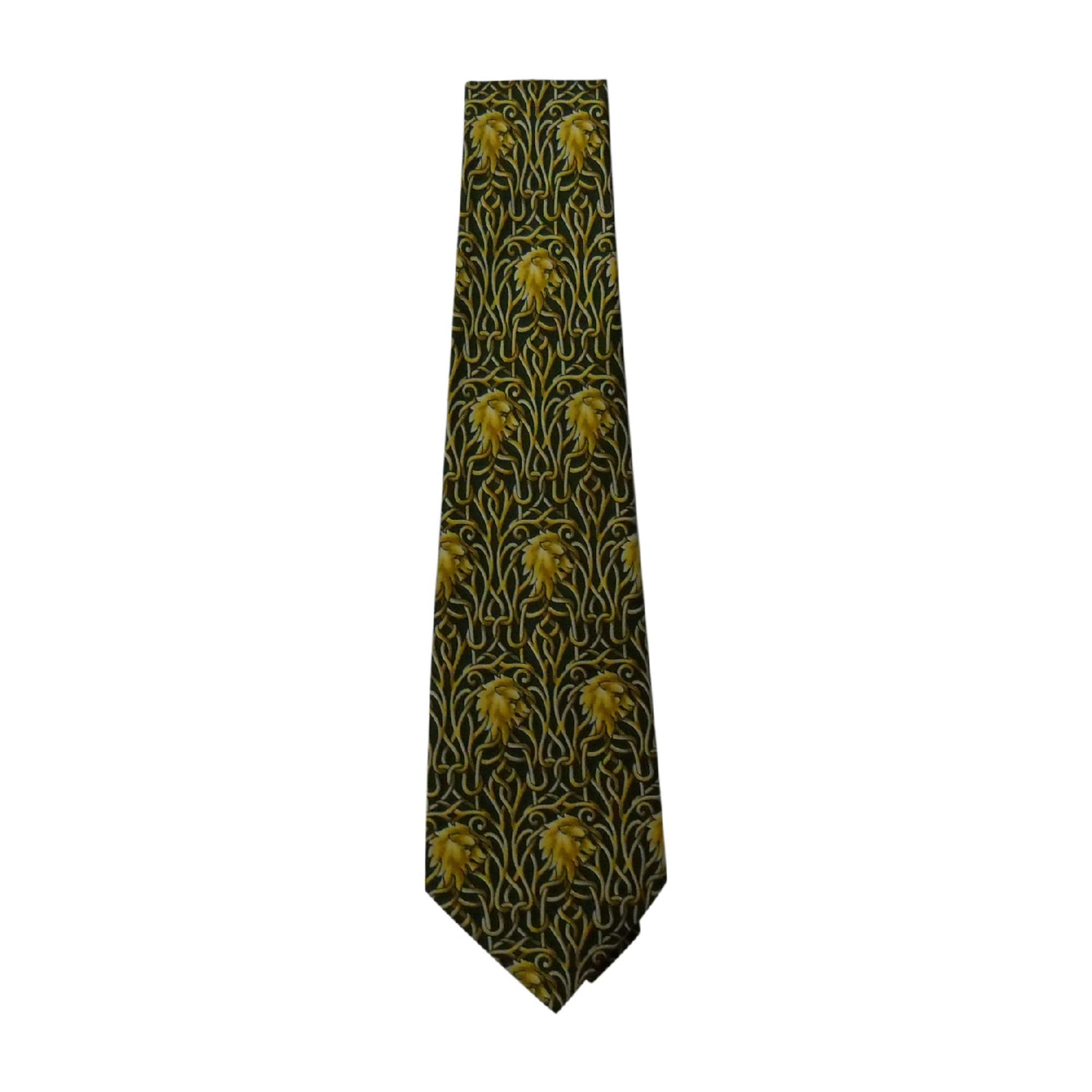 Cravate CÉLINE vert et jaune